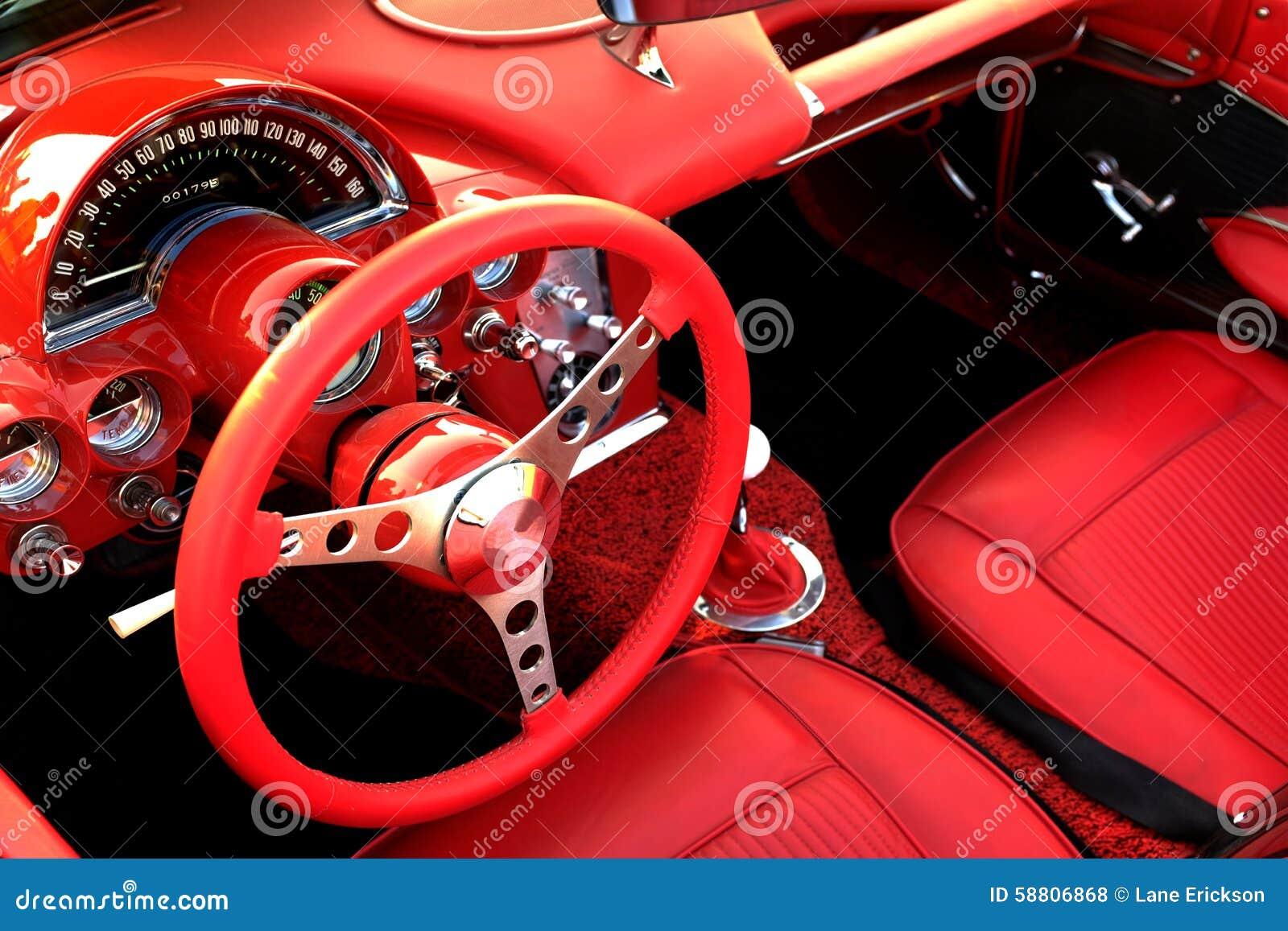 Rotes sport auto innenlenkrad stockfoto bild von