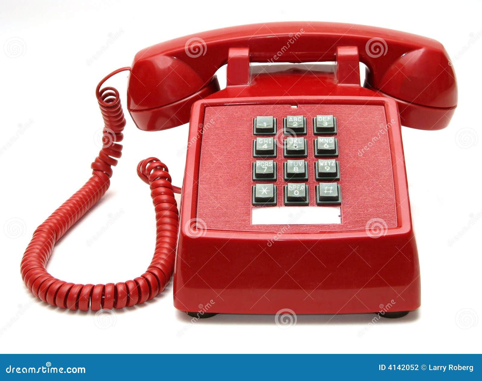 Rotes Telefon mit weißem Hintergrund