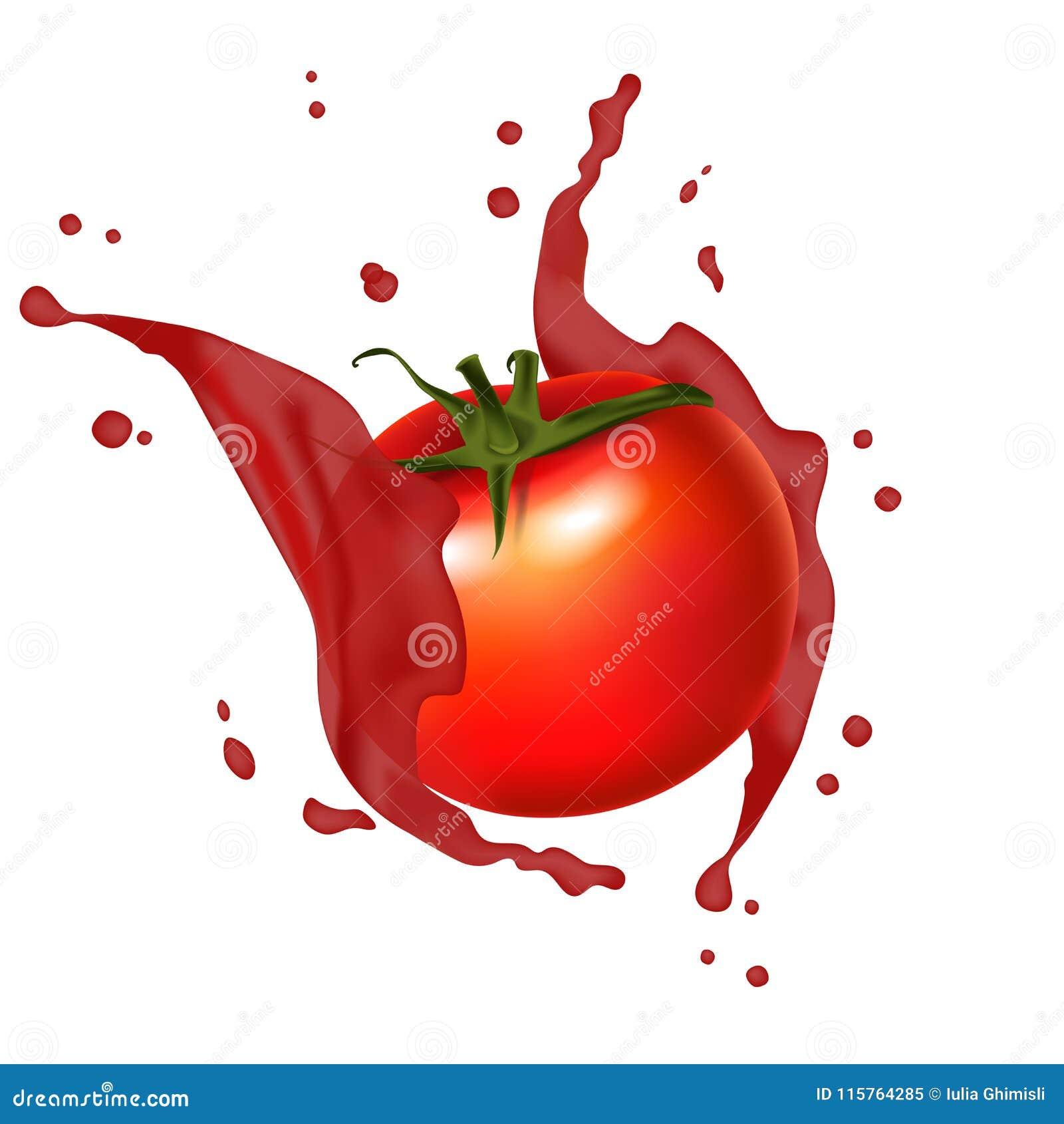 Rotes Tomatenspritzen des Safts Realistisch, saftiges Spritzen der Tomaten 3d