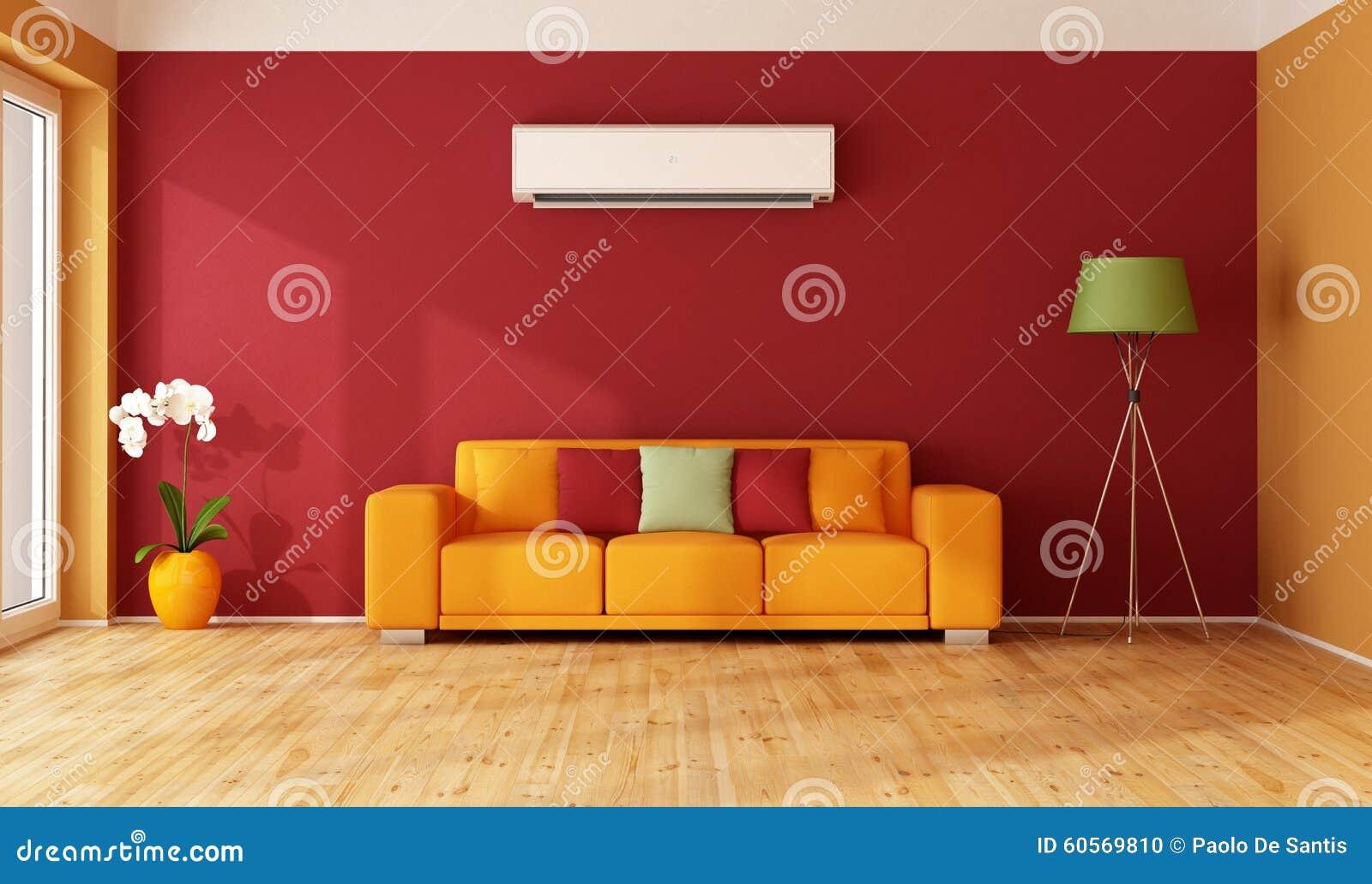 Rotes Und Orange Wohnzimmer Stock Abbildung - Illustration von weiß ...
