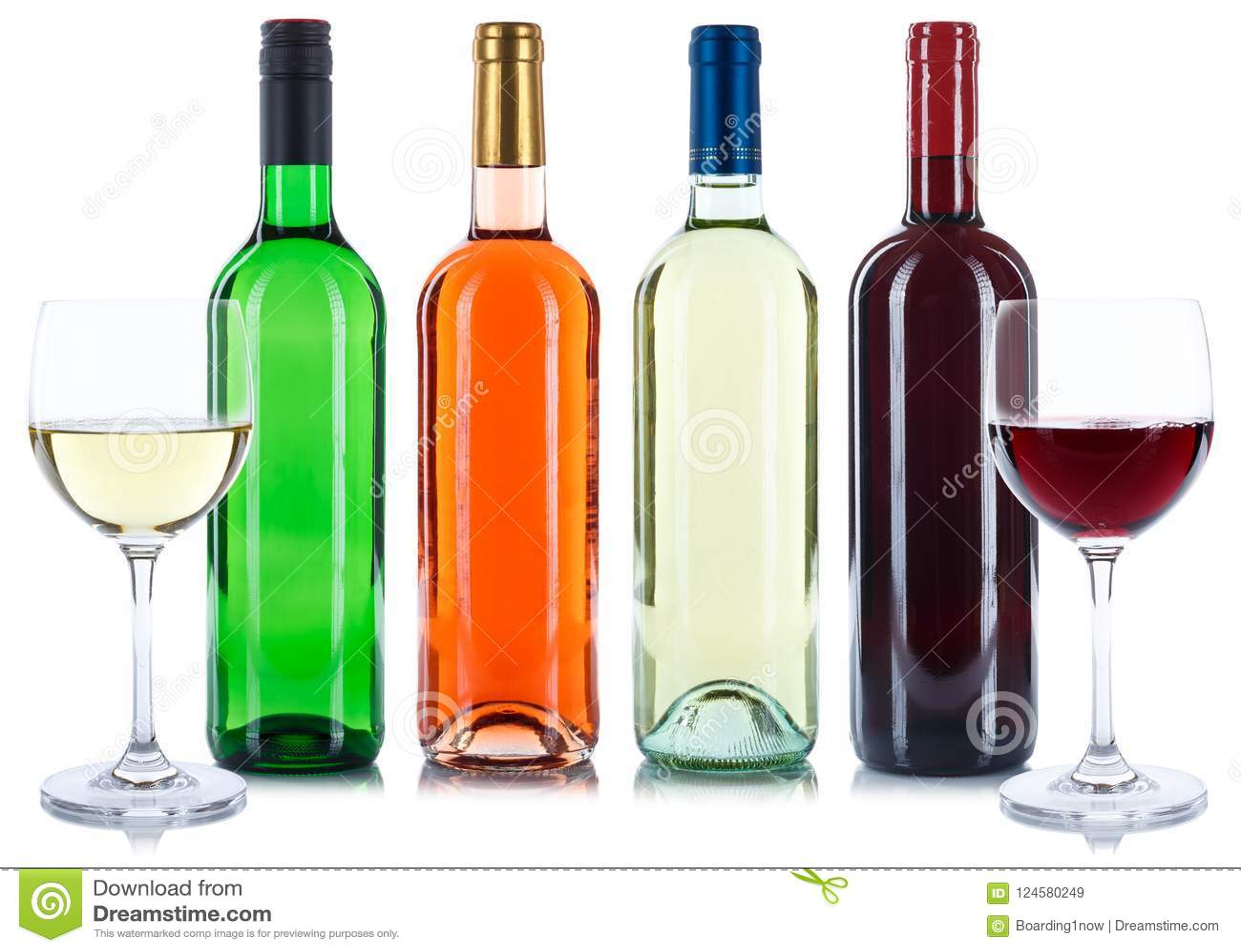 Rotes und weißes Flaschen-Getränkewein-Sammlung isolat des rosafarbenen Weins