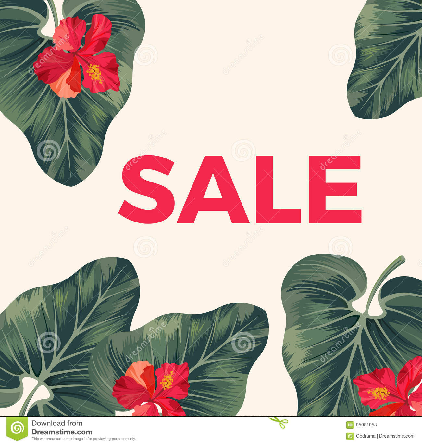 Rotes Verkaufszeichen auf Promoplakat mit Blättern und Blumen