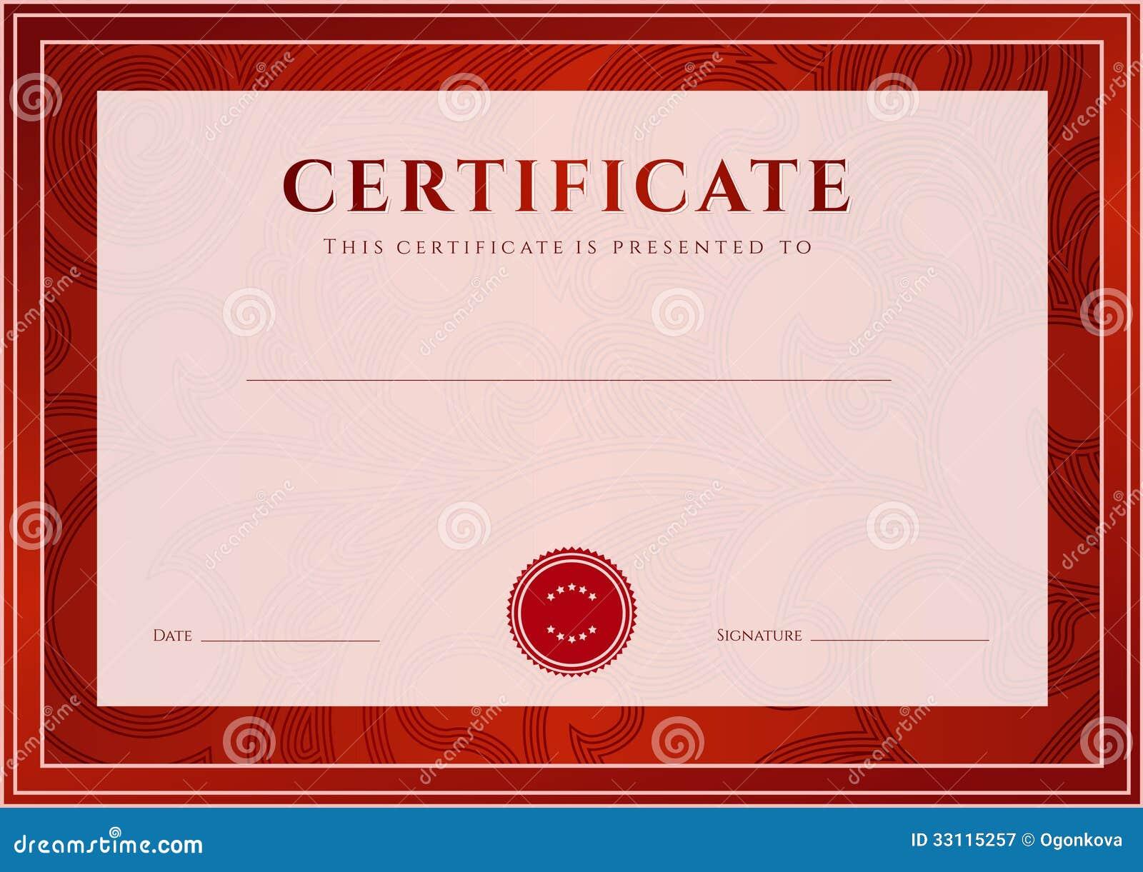 Rotes Zertifikat, Diplomschablone. Preismuster Vektor Abbildung ...
