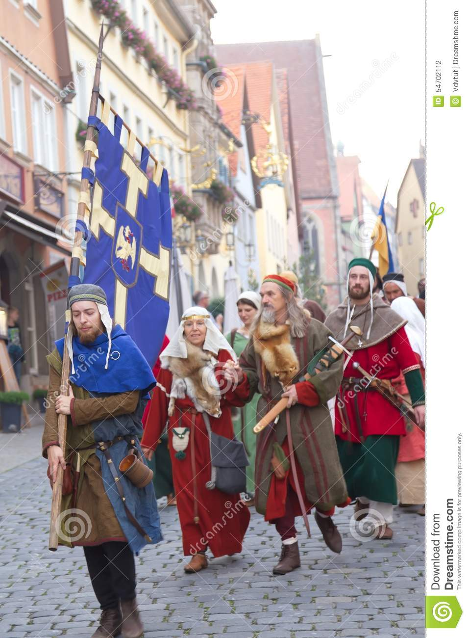 ROTHENBURG OB DER TAUBER, GERMANY - September 5: Performers of t