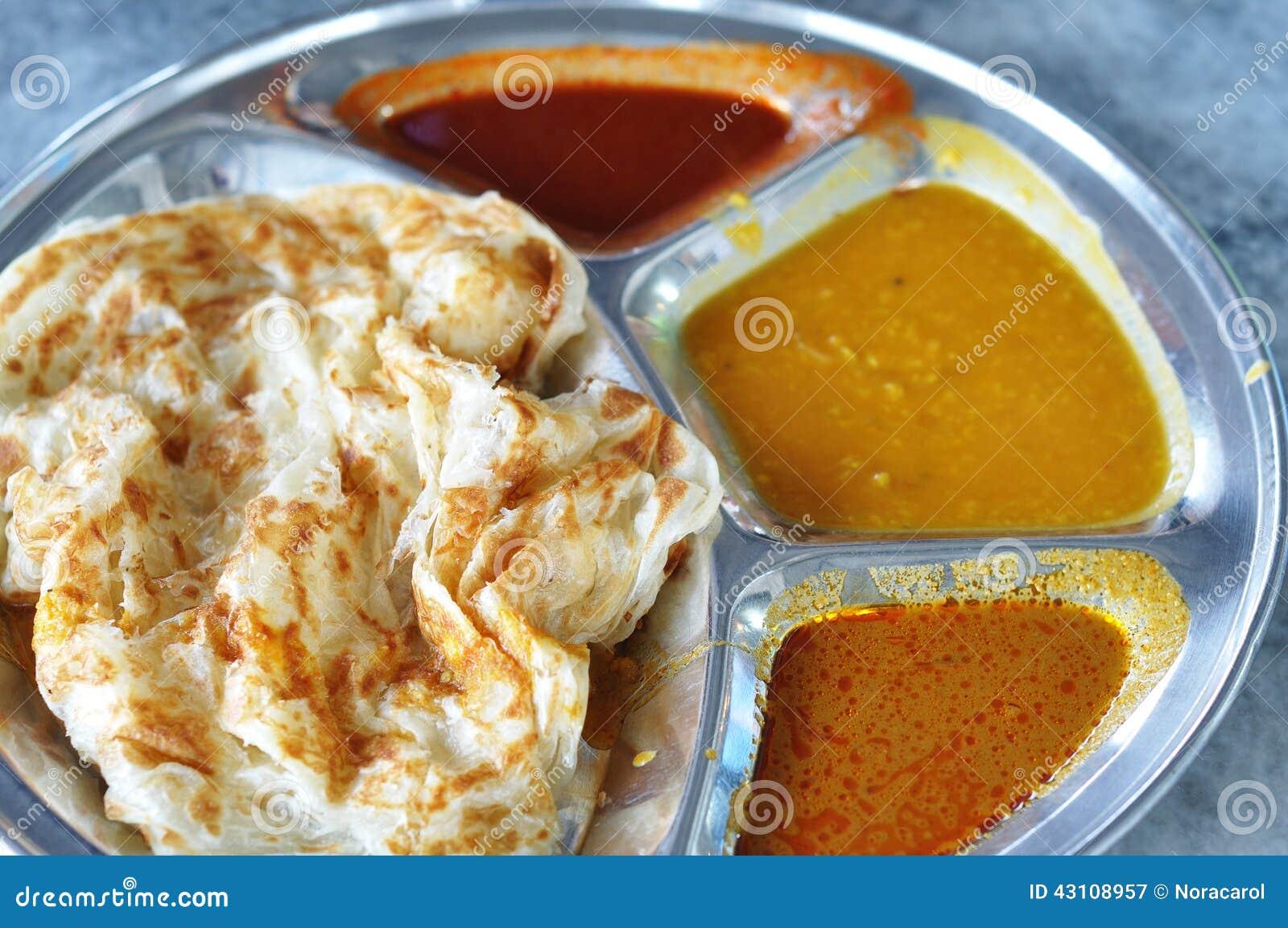 Roti canai płaski chleb, Indiański jedzenie