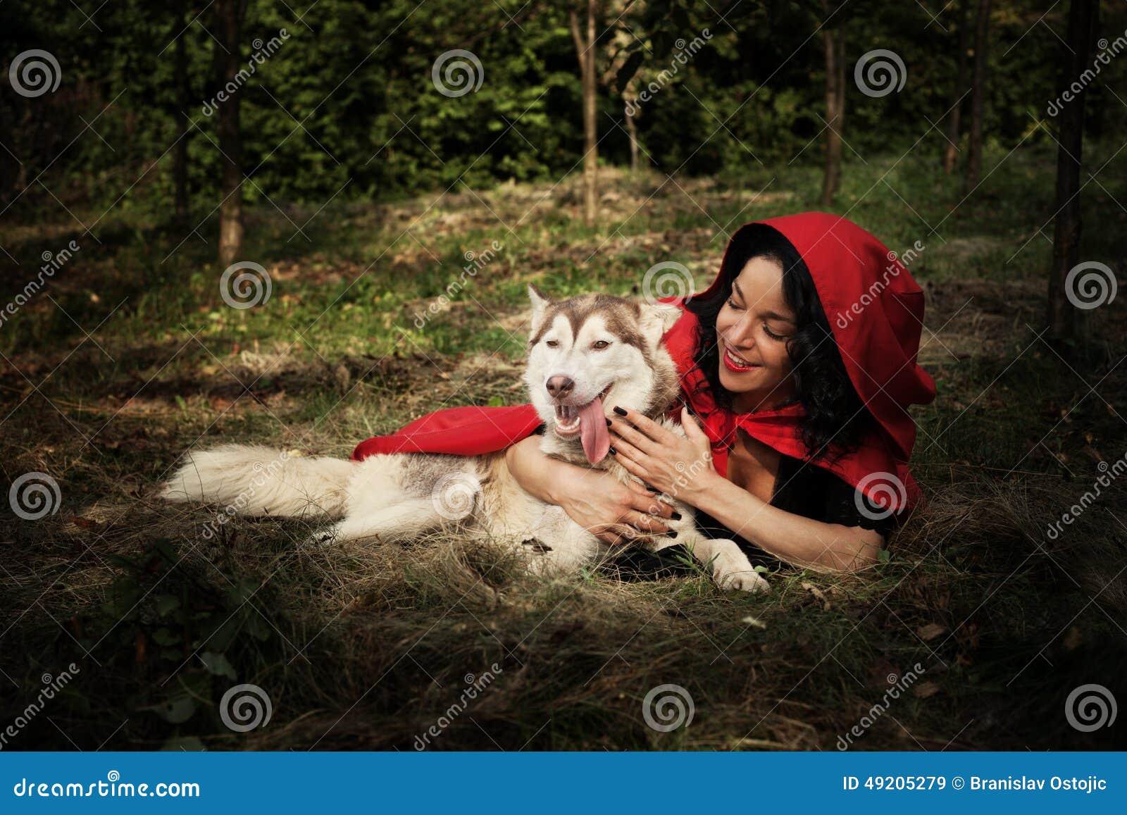 rotkäppchen und der wolf stockbild bild von hunde
