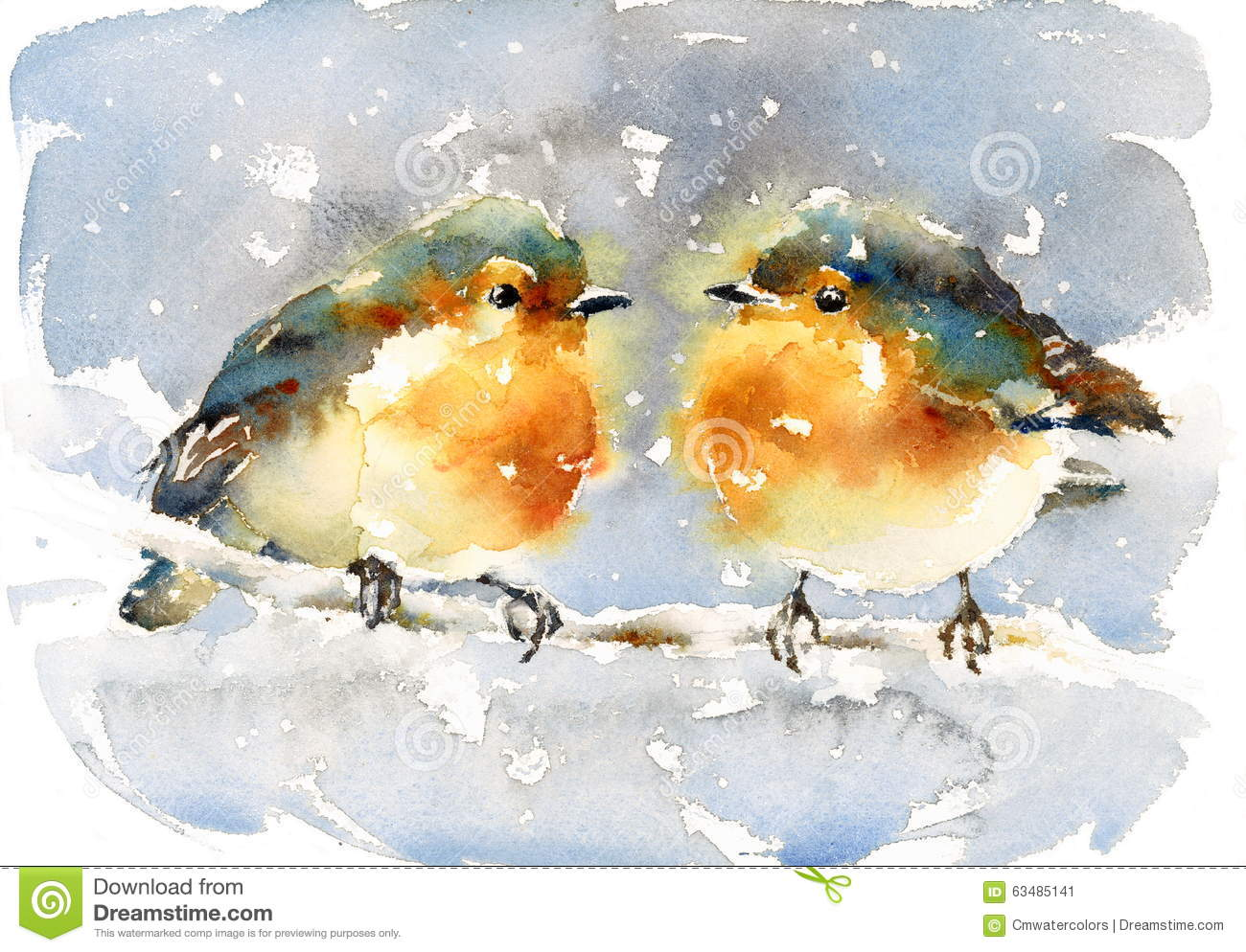 rotkehlchen aquarell winter vogel illustration handgemalt. Black Bedroom Furniture Sets. Home Design Ideas