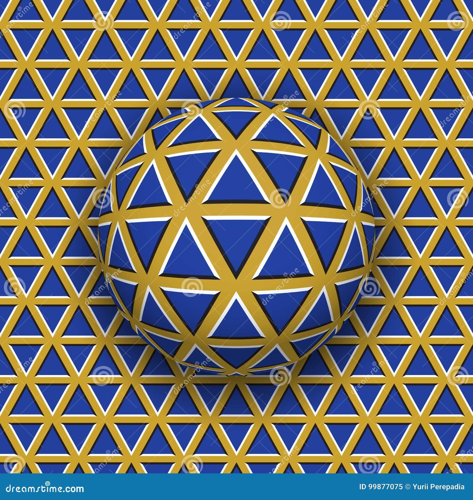 Rotolamento della palla lungo la superficie dei triangoli Illustrazione astratta di illusione ottica di vettore