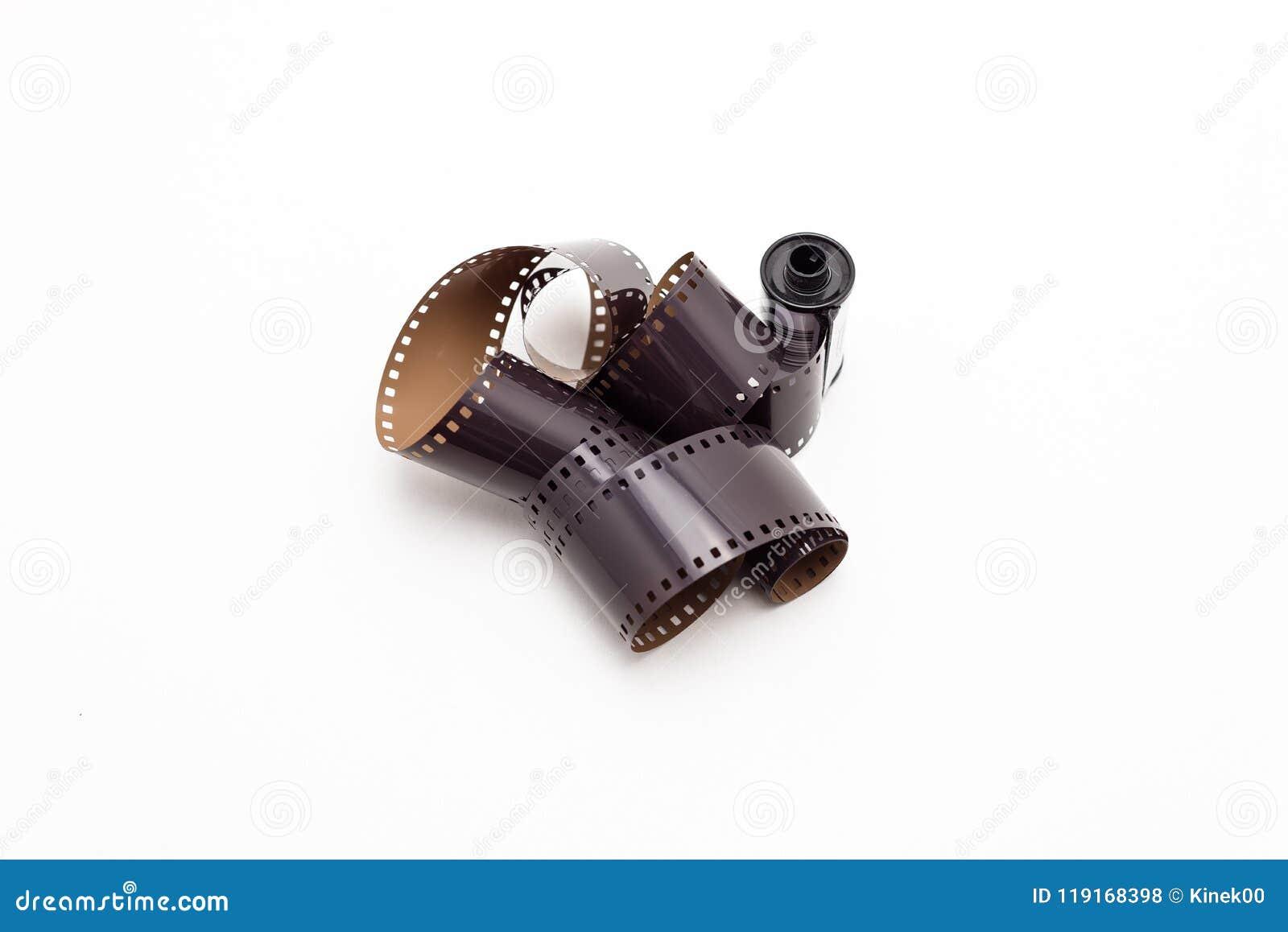 Rotoli di film della foto di 35mm Isolato su priorità bassa bianca
