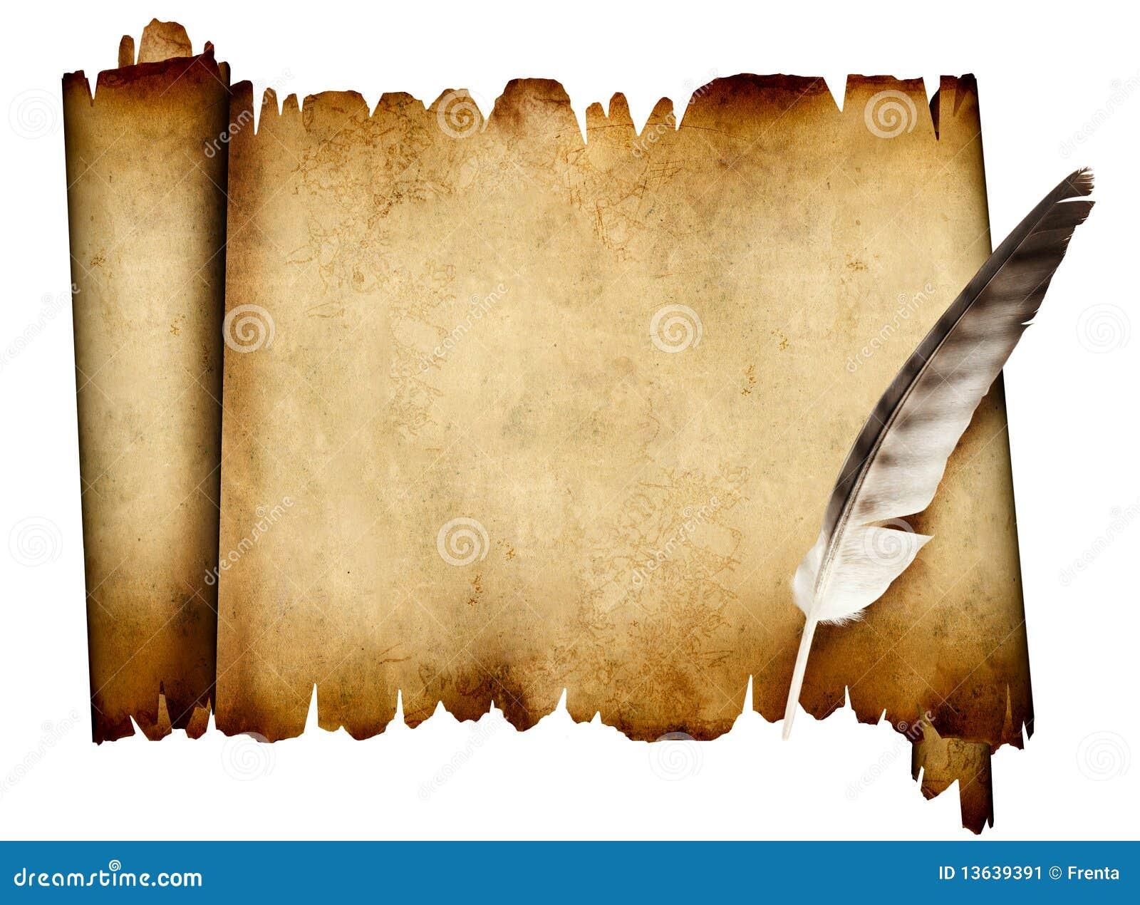 Rotolo di pergamena e della piuma