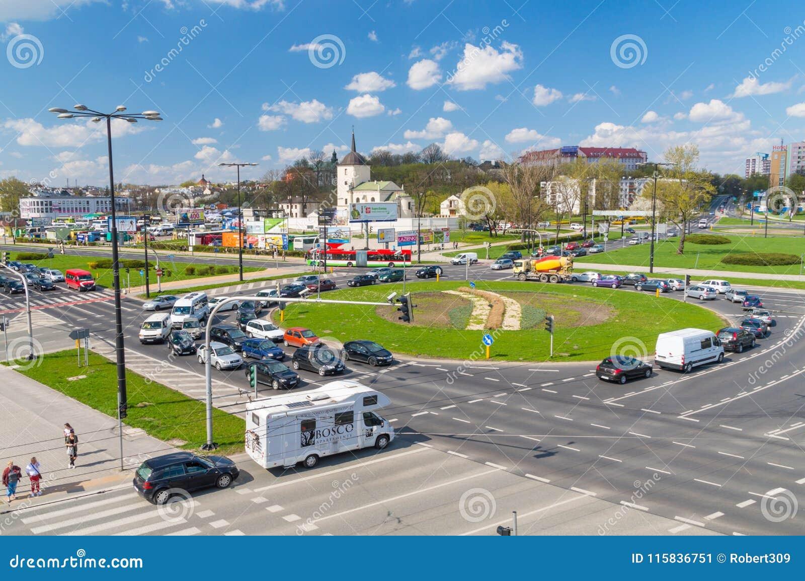 Rotonda di Roman Dmowski nel centro urbano di Lublino