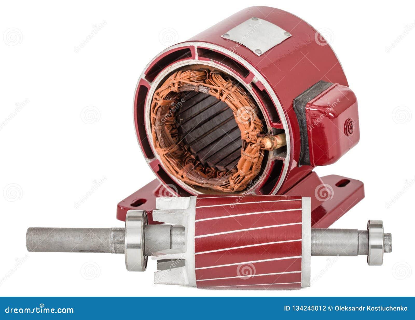 Rotor e estator do motor elétrico, isolados no fundo branco