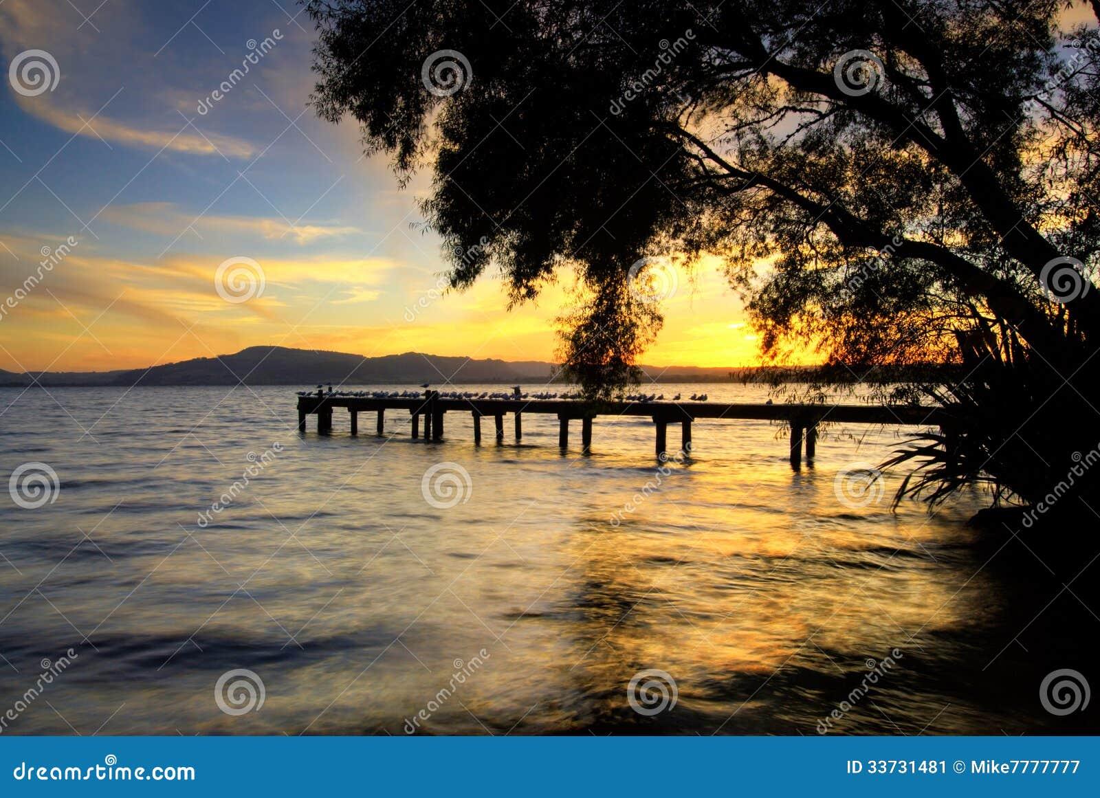 Озеро Rotorua на заходе солнца. Северный остров, Новая Зеландия