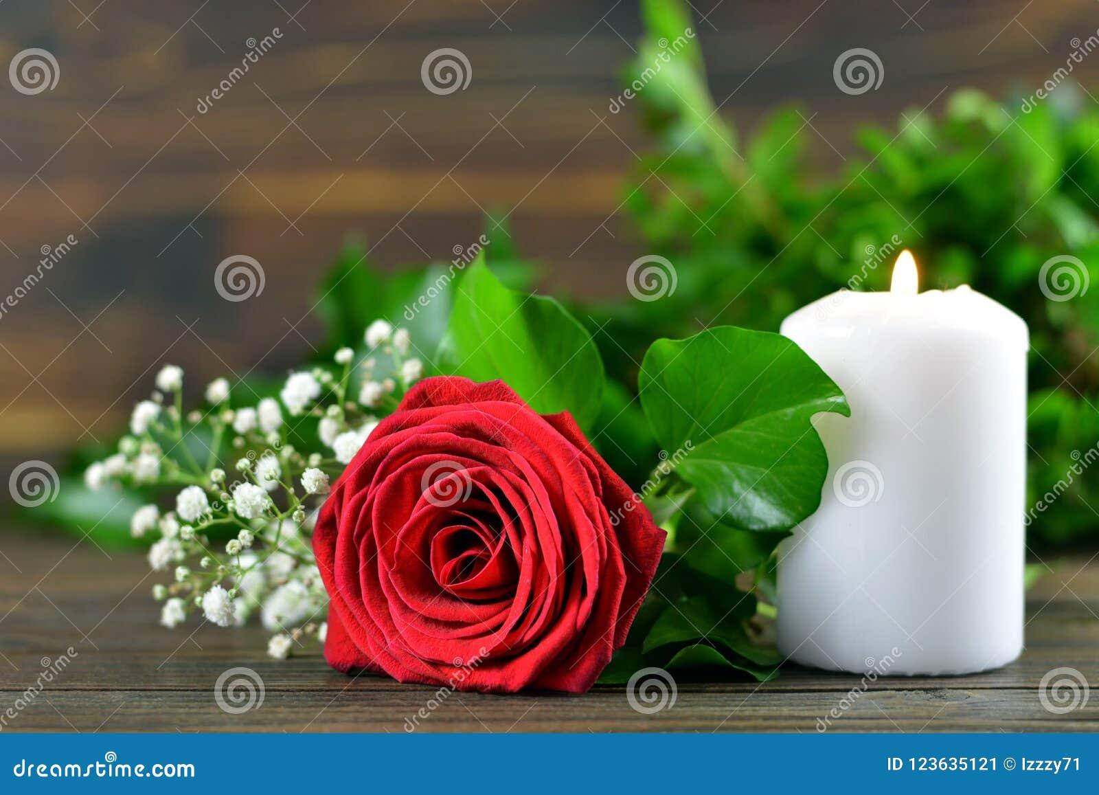 Rotrose und weiße brennende Kerze