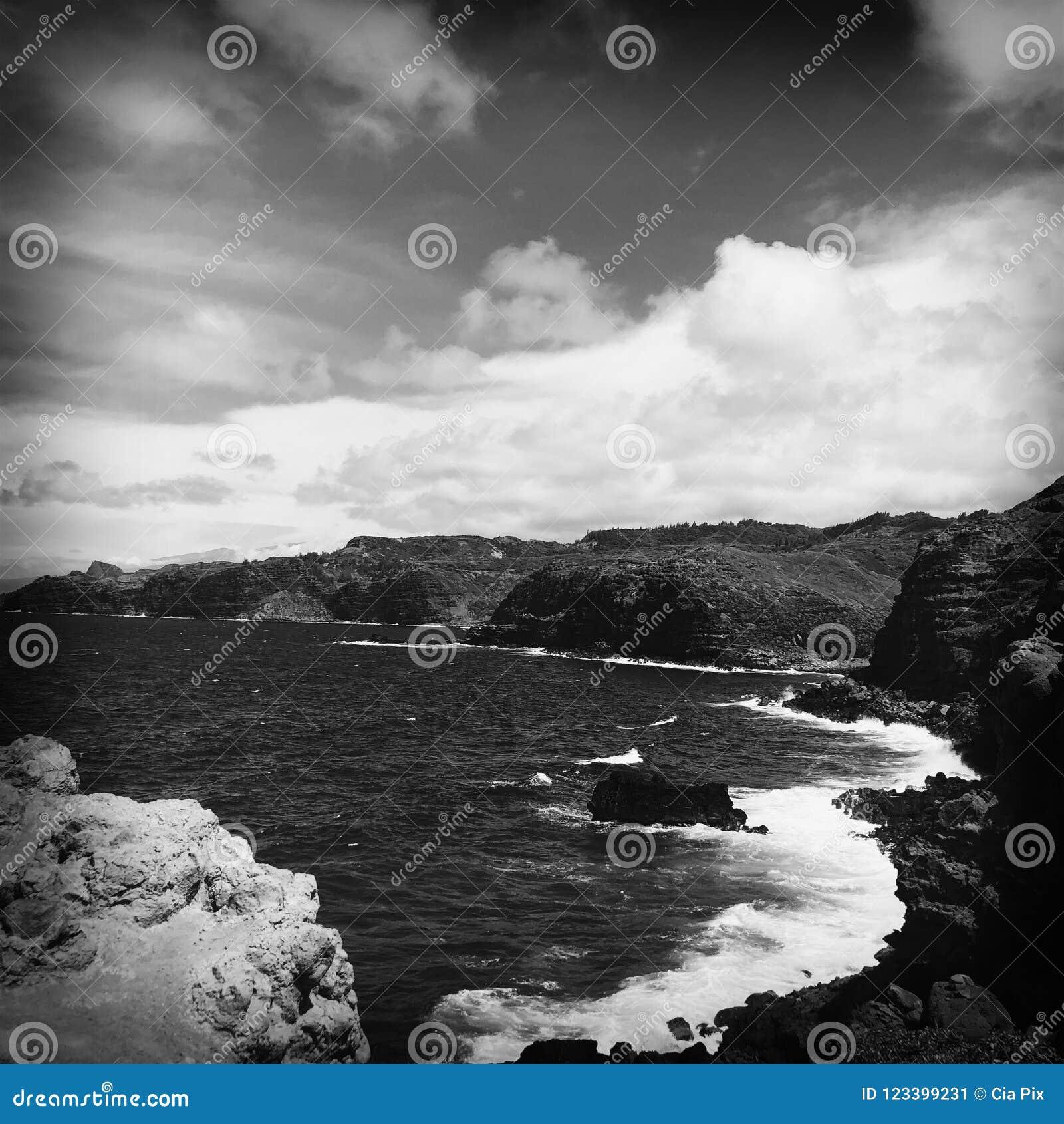 Rotsachtige kusten van Wailuku