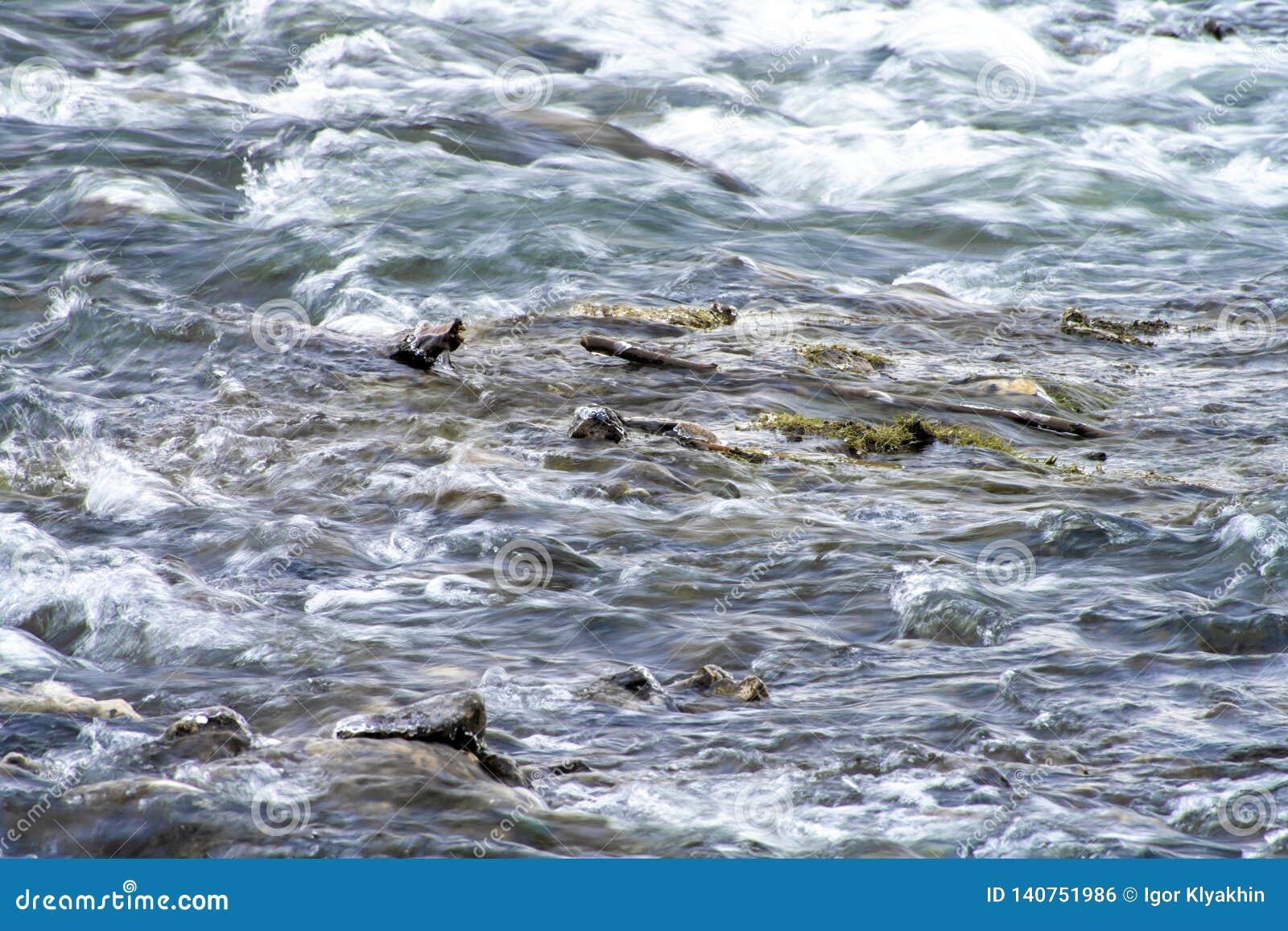 Rotsachtige rivier met snel huidig