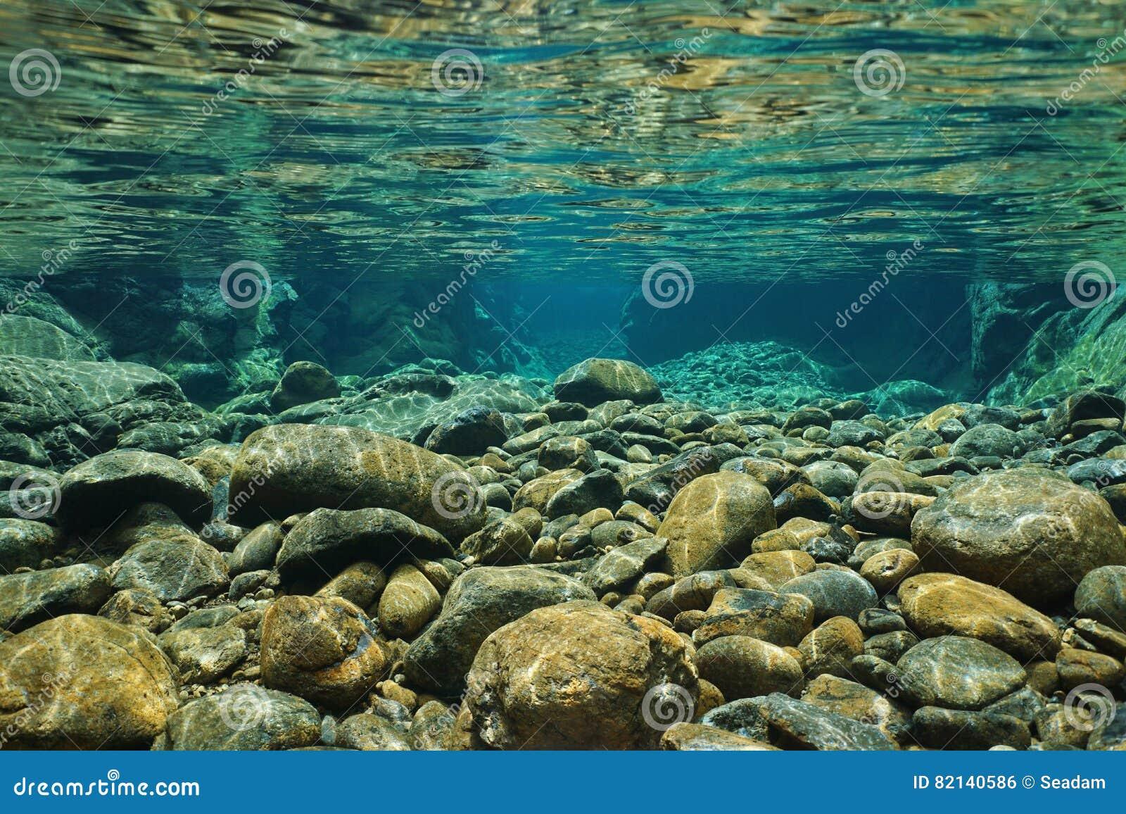 Rotsen onderwater op rivierbed met duidelijke zoetwater