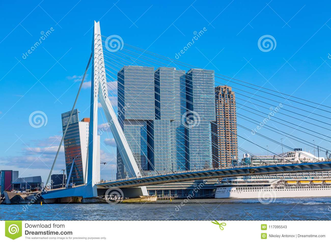 Rotterdam Cityscape With Erasmus Bridge And Ship ...