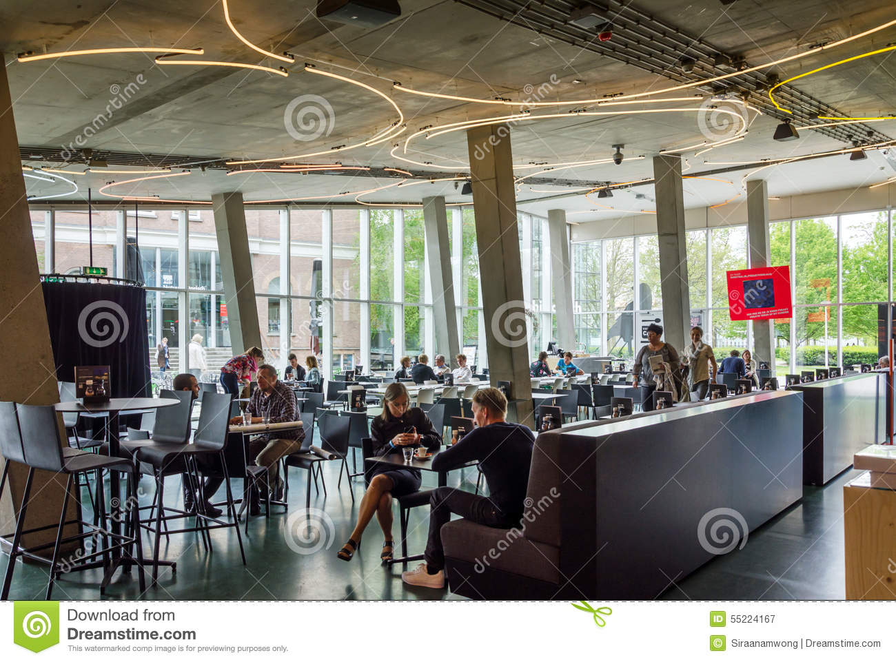 Rotterdam netherlands may 9 2015 people at cafeteria for Materiel culture interieur