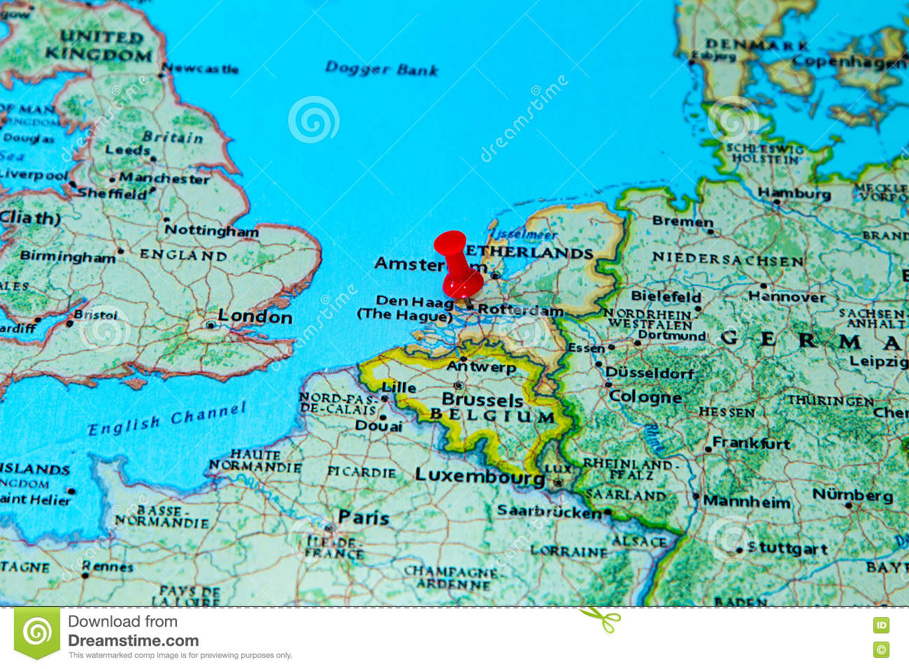 Rotterdam, Netherlands Pinned On A Map Of Europe Stock Photo ...