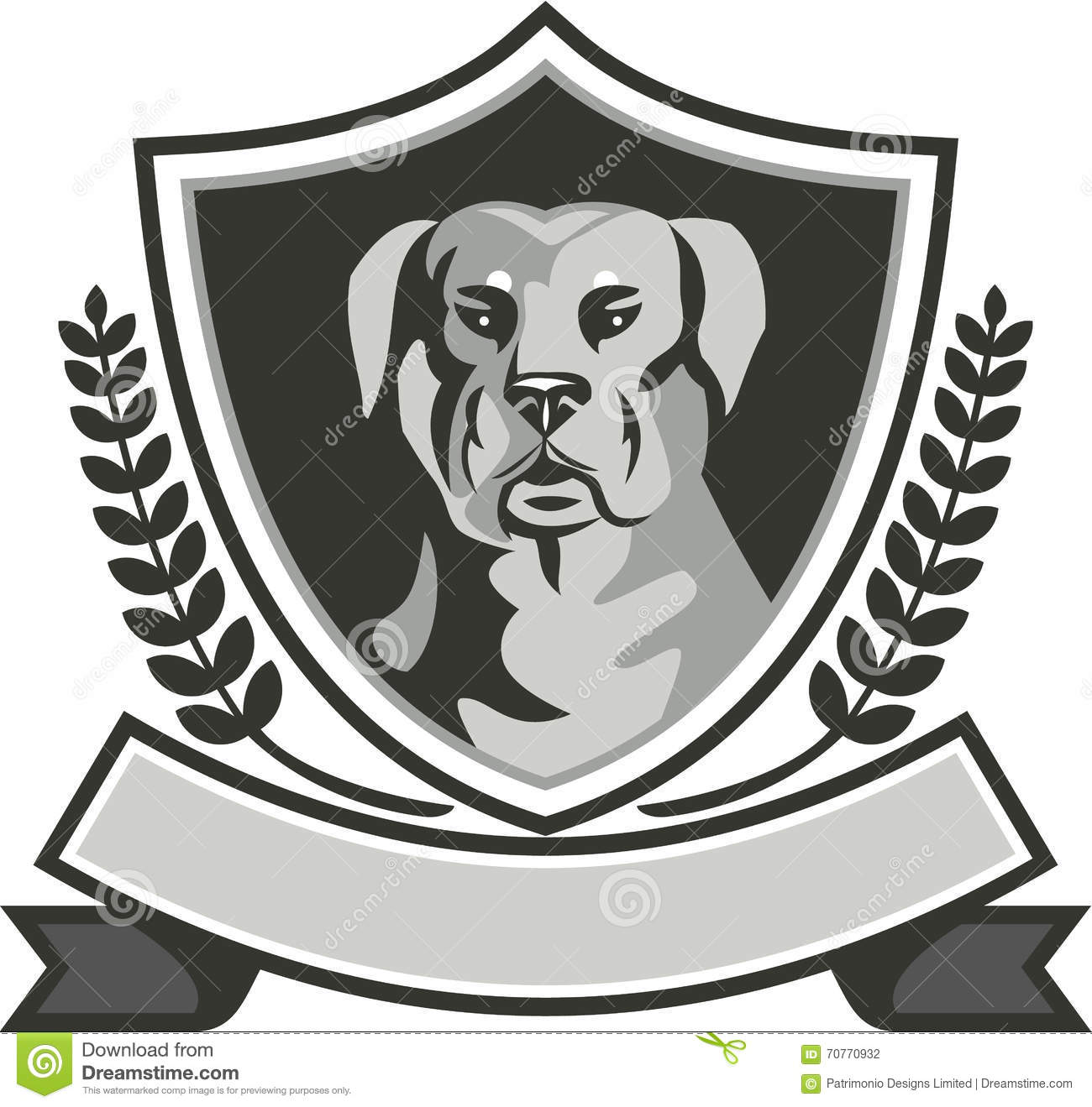 Rottweiler Head Black White Vector Illustration