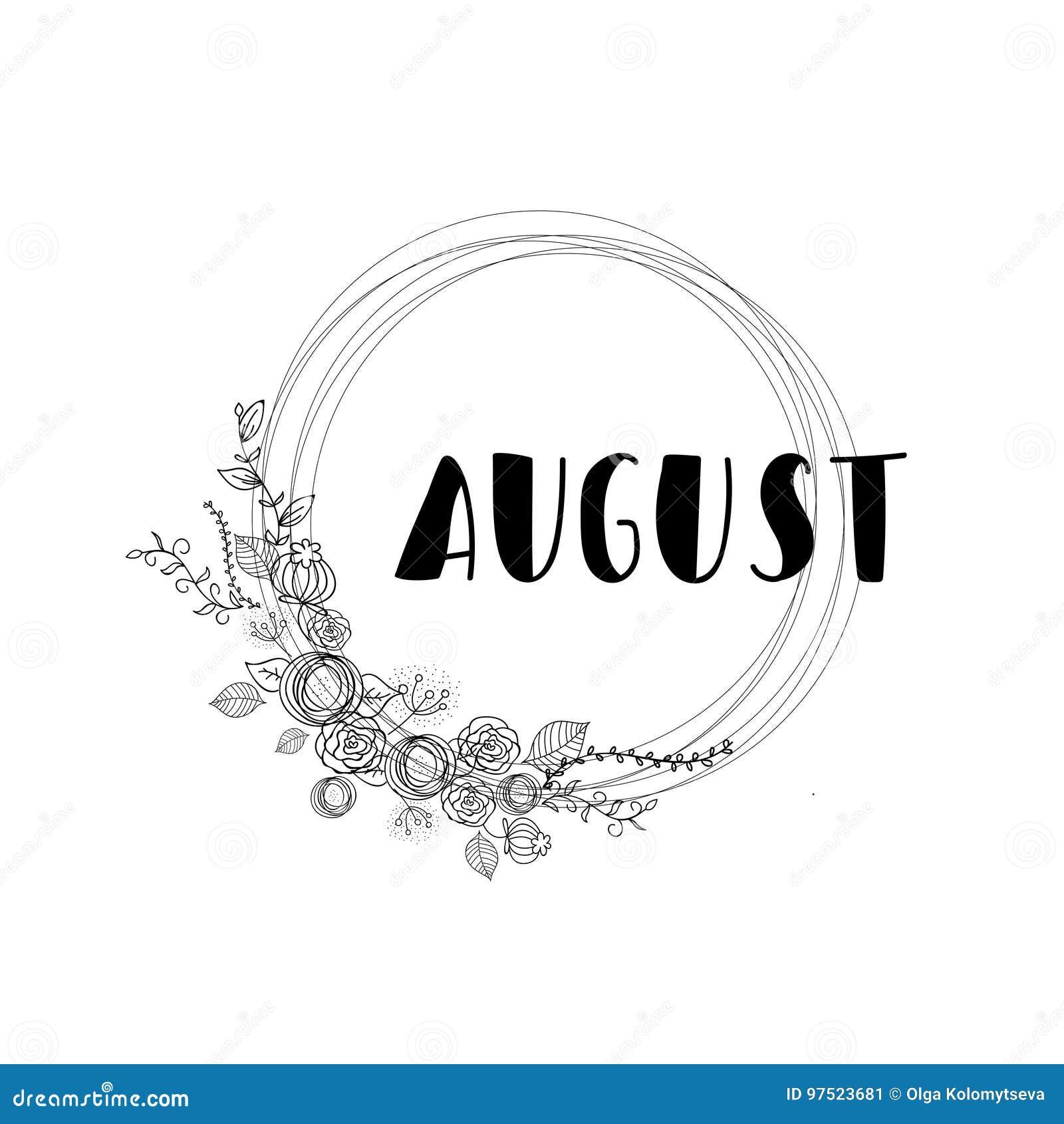 Rotulação Branca De Agosto No Fundo Branco Com Flores