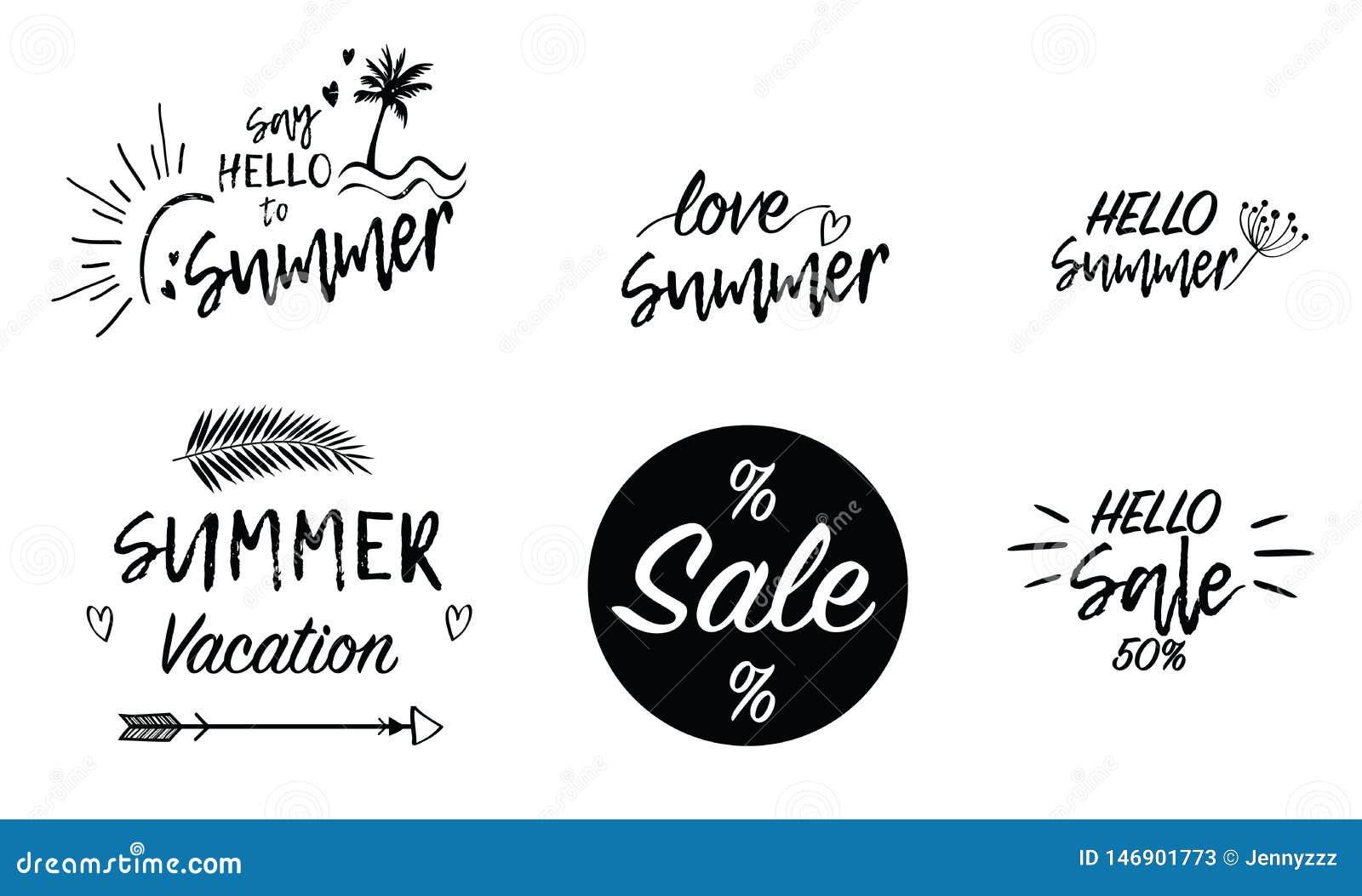 Rotulação da escrita do texto do fundo das férias da venda do verão do amor Papel de parede, insetos, stiker, convite, cartazes,