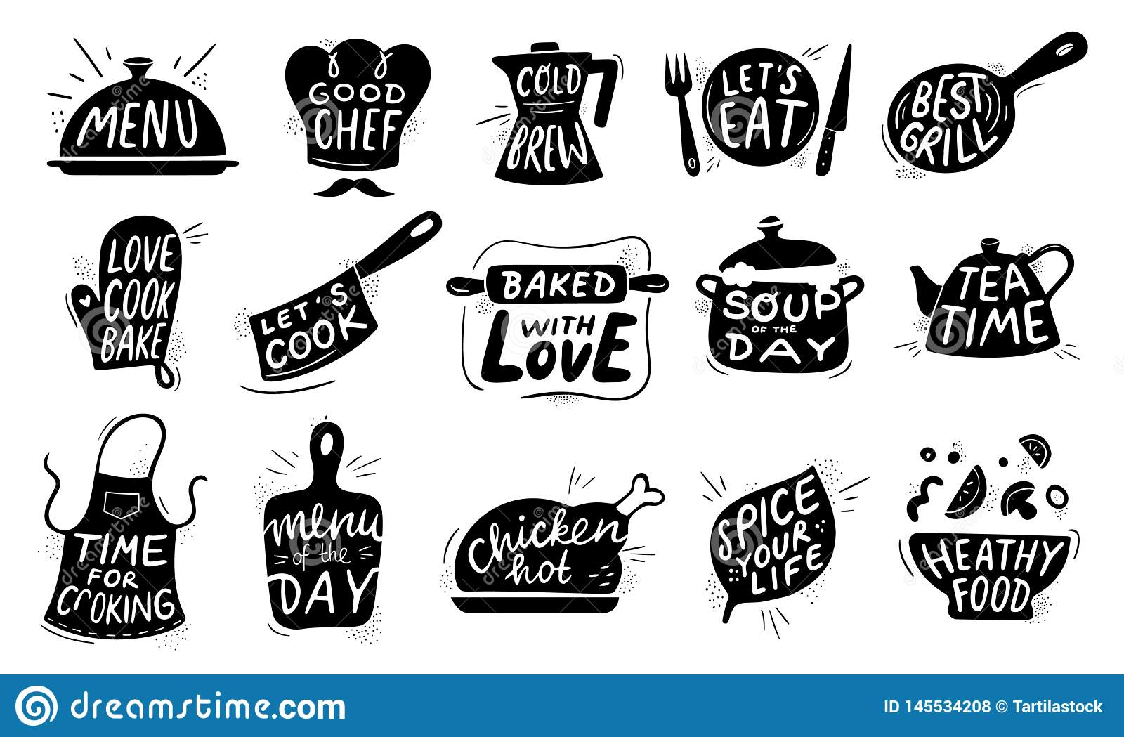 Rotula??o do alimento da cozinha O crach? de cozimento gourmet dos alimentos, receitas da galinha cozinha e vetor da rotula??o do