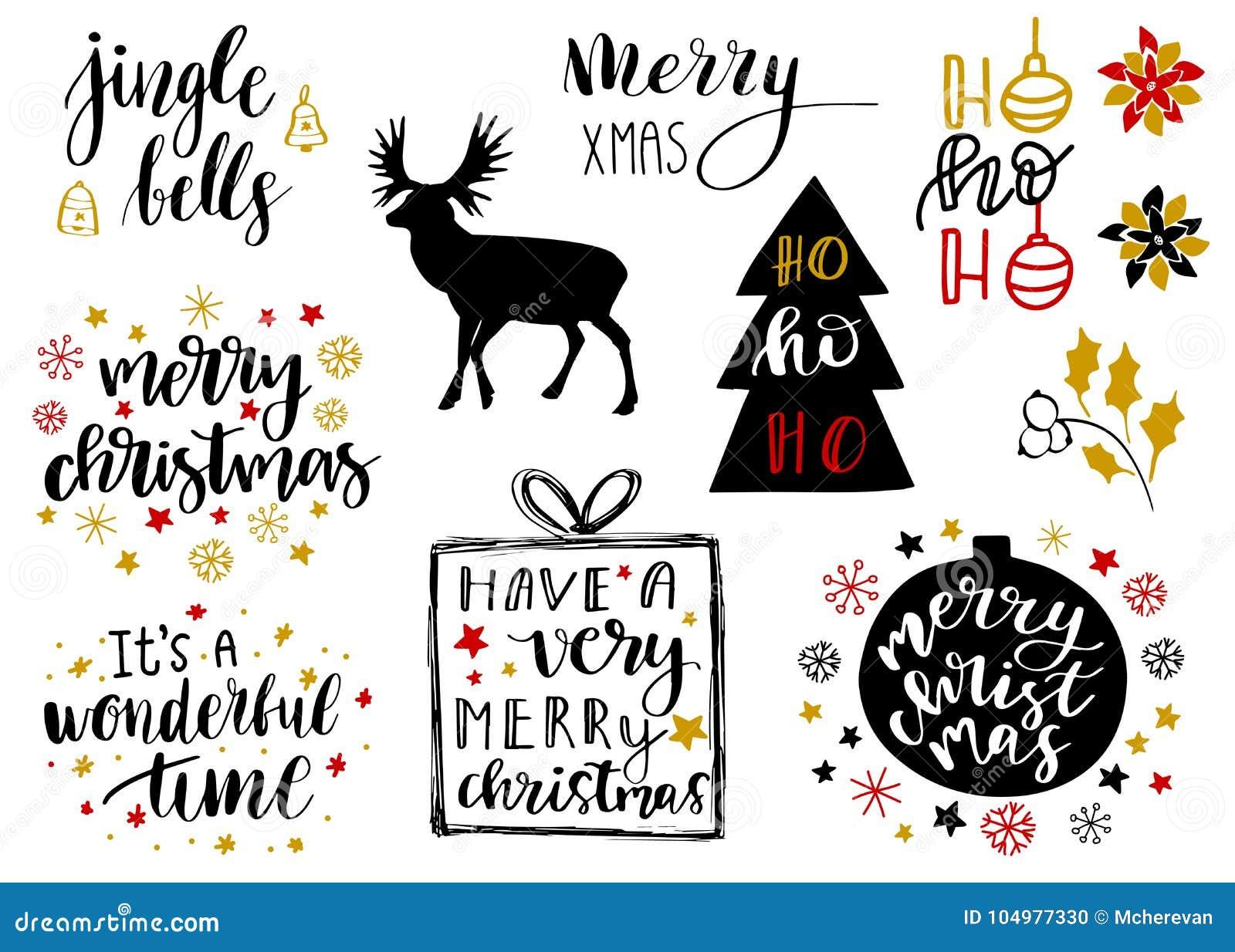Rotulação 2018 do Natal e do ano novo e coleção decorativa dos elementos A ilustração do vetor ajustou-se para cartões, etiquetas