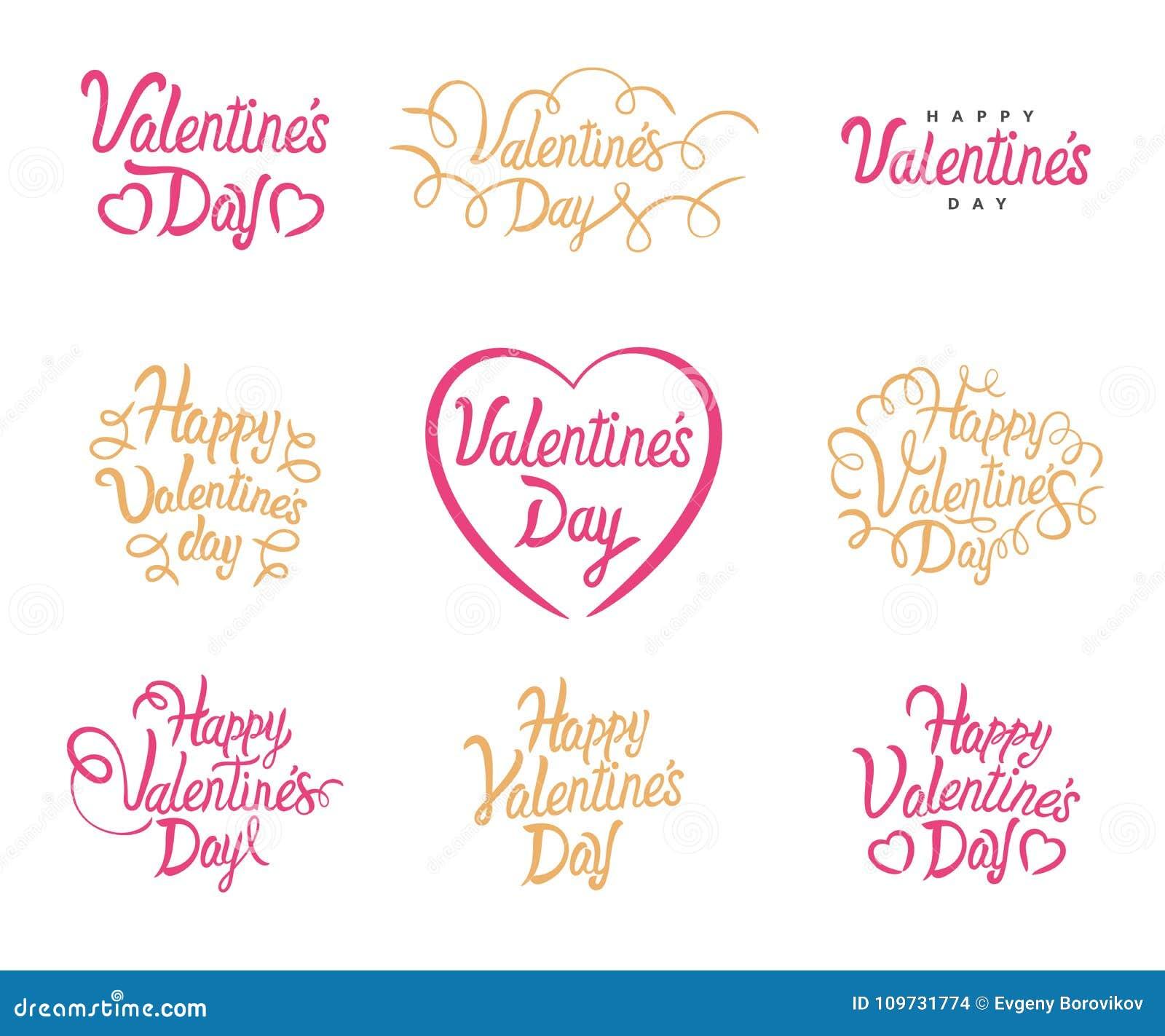 Rotulação do texto do vetor de Valentine Day Valentim felizes do vetor ajustados de citações caligráficas Rotulação no fundo bran