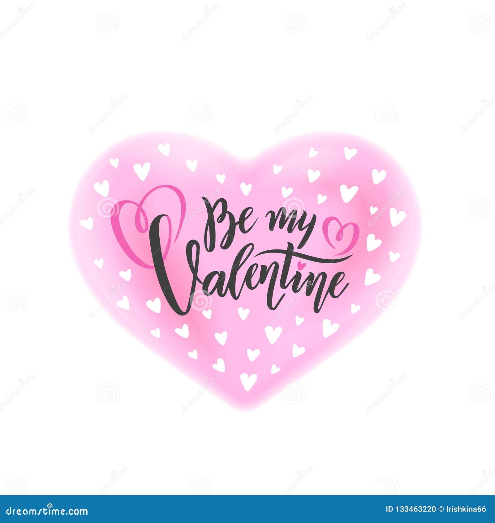 A rotulação escrita à mão romântica do vetor seja meu Valentim O dia de Valentim do texto da caligrafia no efeito cor-de-rosa da