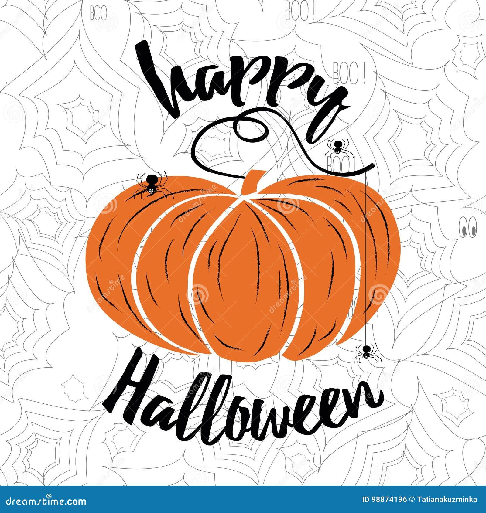Rotulação feliz do vetor de Dia das Bruxas Caligrafia do feriado com Web e abóbora de aranha