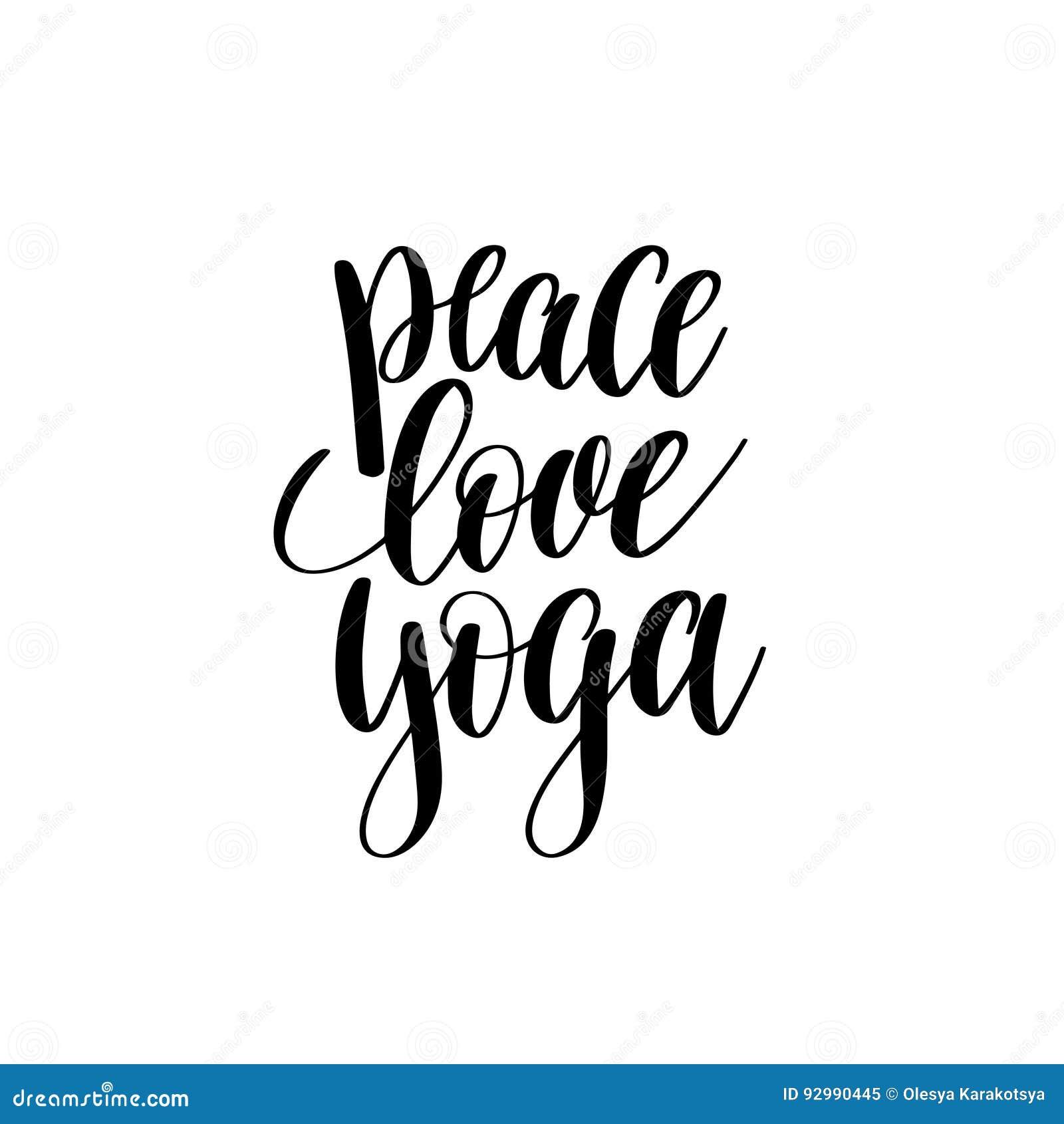 Rotulação preto e branco da mão da ioga do amor da paz