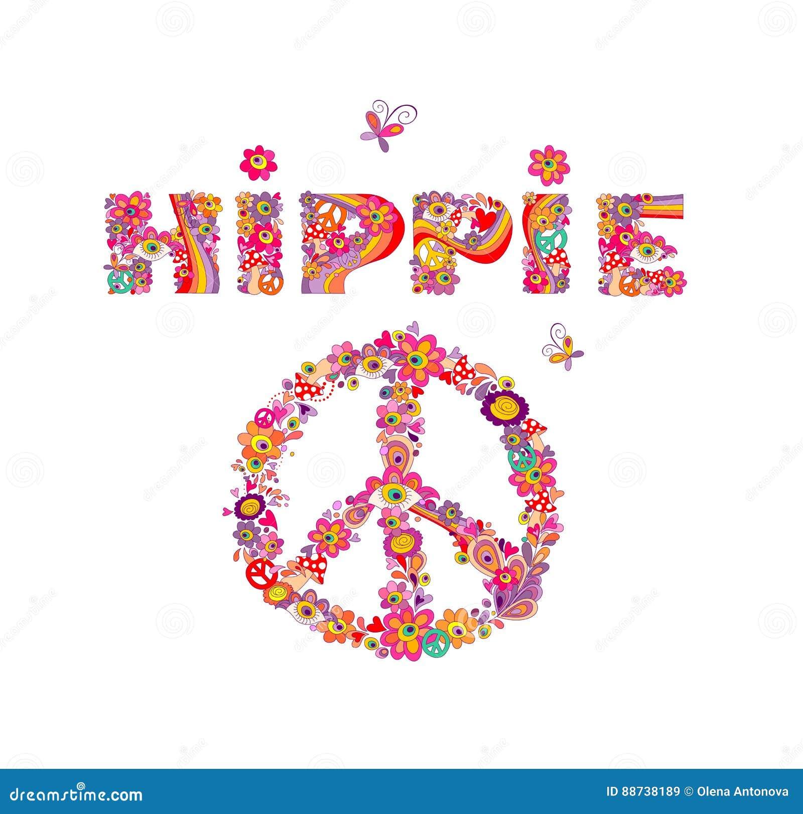 Rotulação psicadélico da hippie e símbolo de paz com as flores abstratas coloridas, símbolo de paz, olhos e agaric de mosca Isola