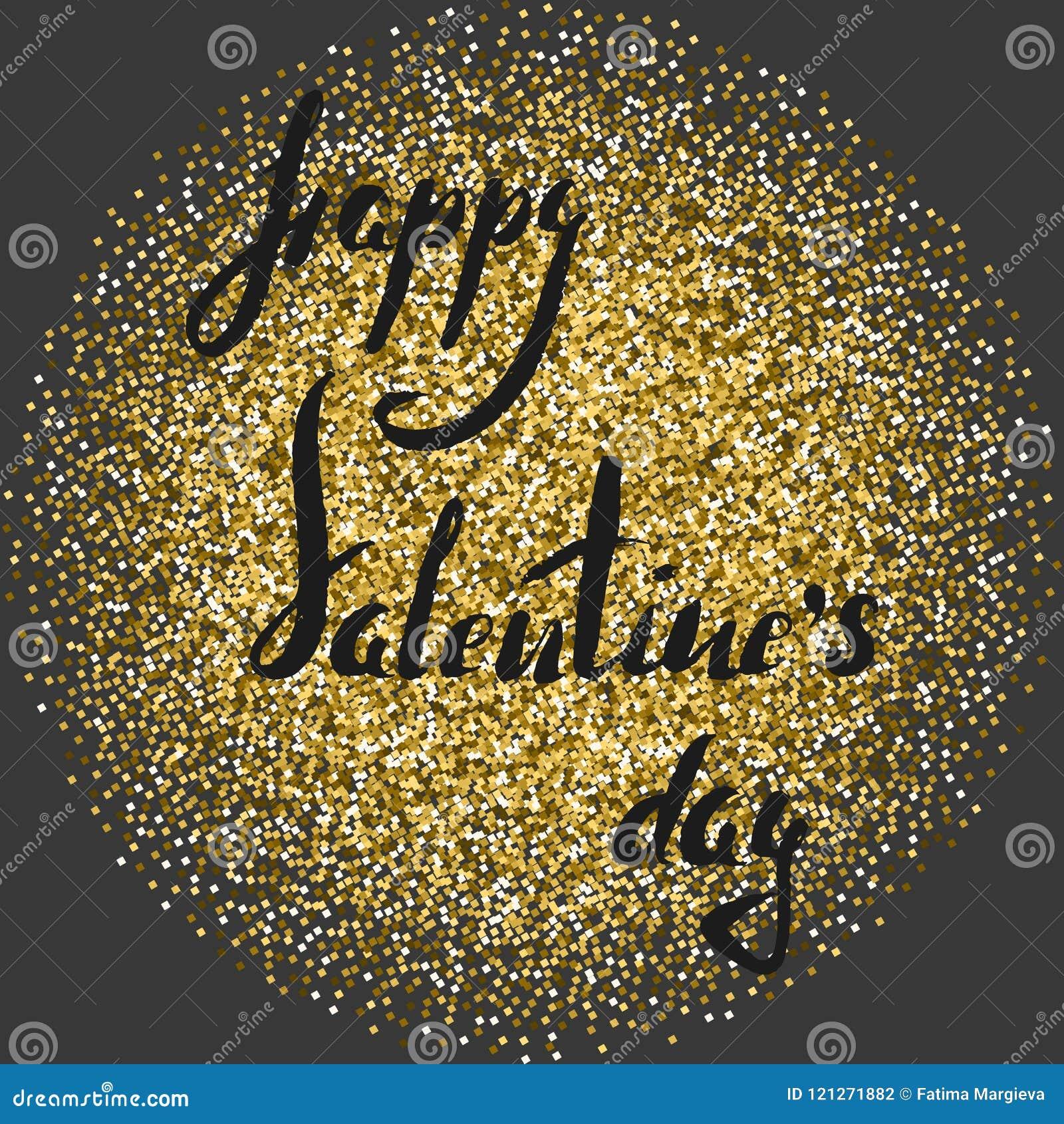 Rotulando o brilho dourado do daywith feliz dos Valentim para circundar em um fundo cinzento