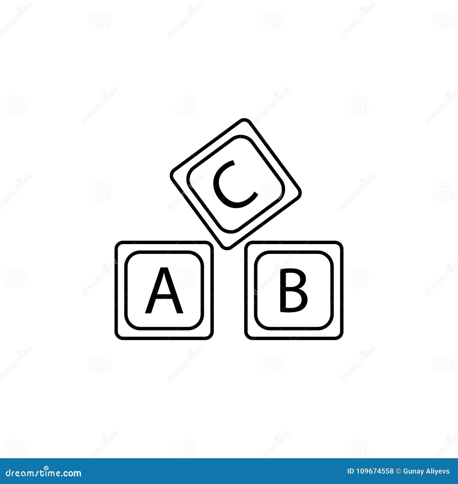 Rotule o ícone do alfabeto do logotipo de A B C