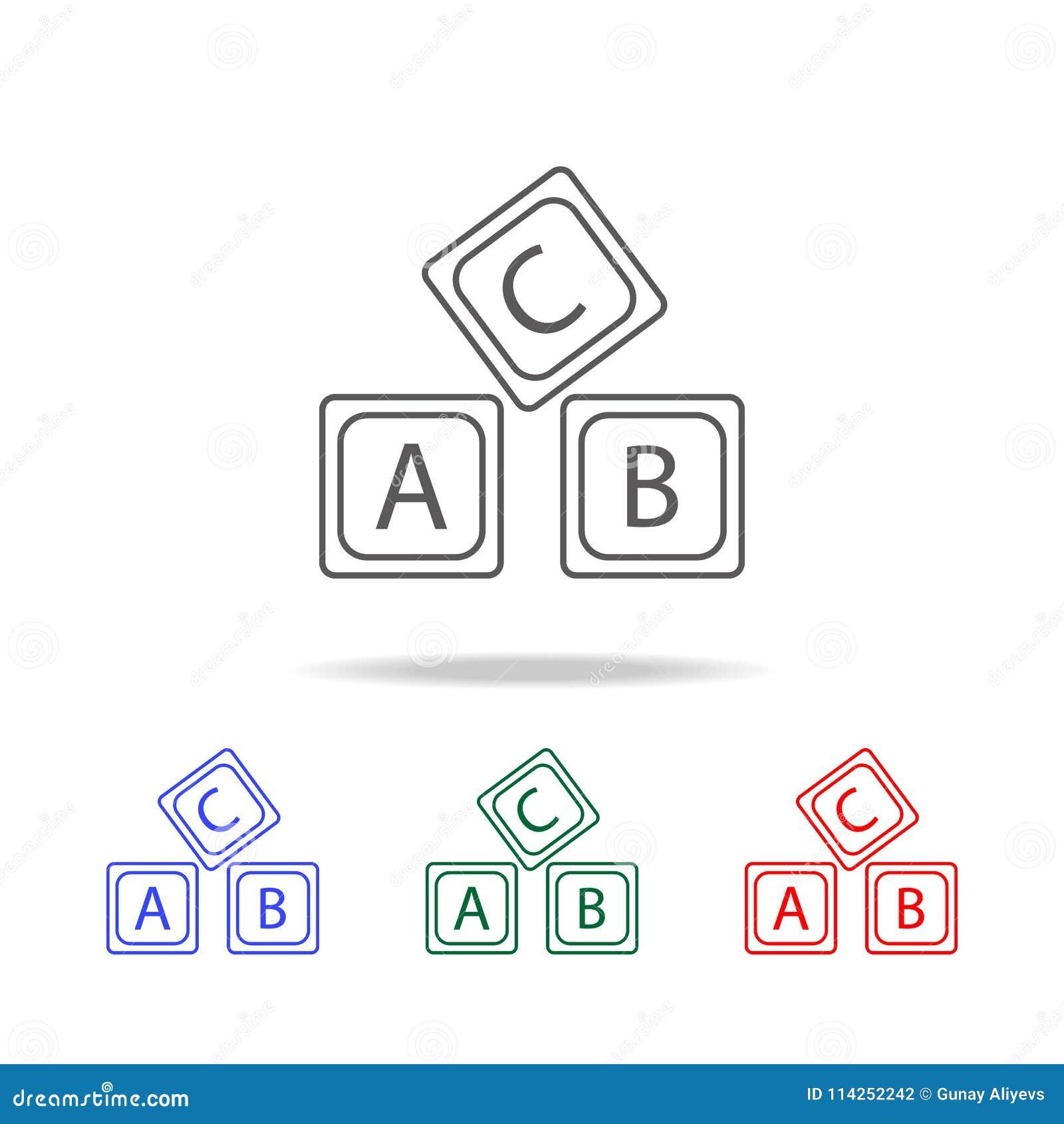 Rotule o ícone do alfabeto do logotipo de A B C Elementos de multi ícones coloridos da educação Ícone superior do projeto gráfico