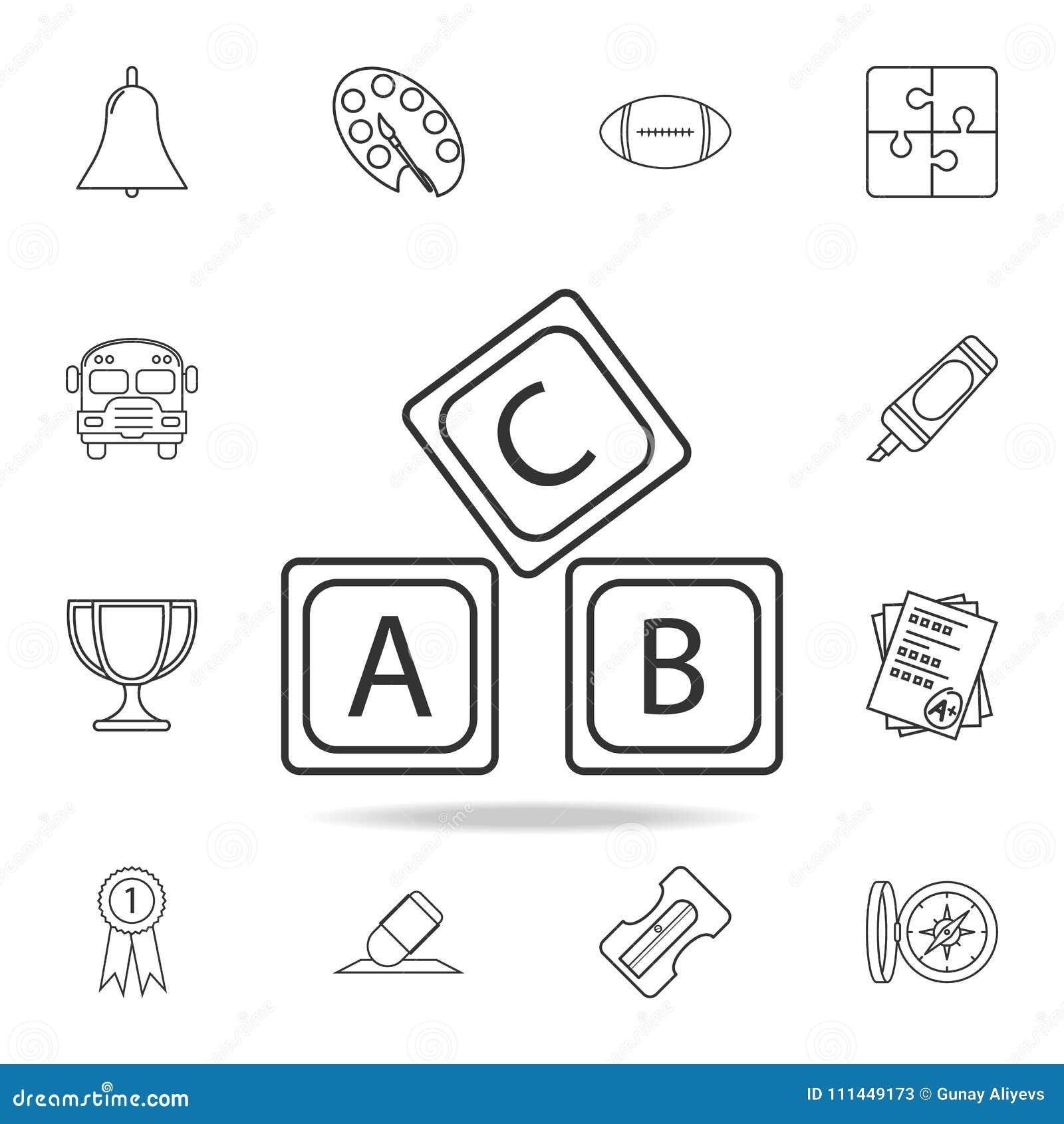 Rotule o ícone do alfabeto do logotipo de A B C Grupo detalhado de ícones do esboço da educação Projeto gráfico da qualidade supe
