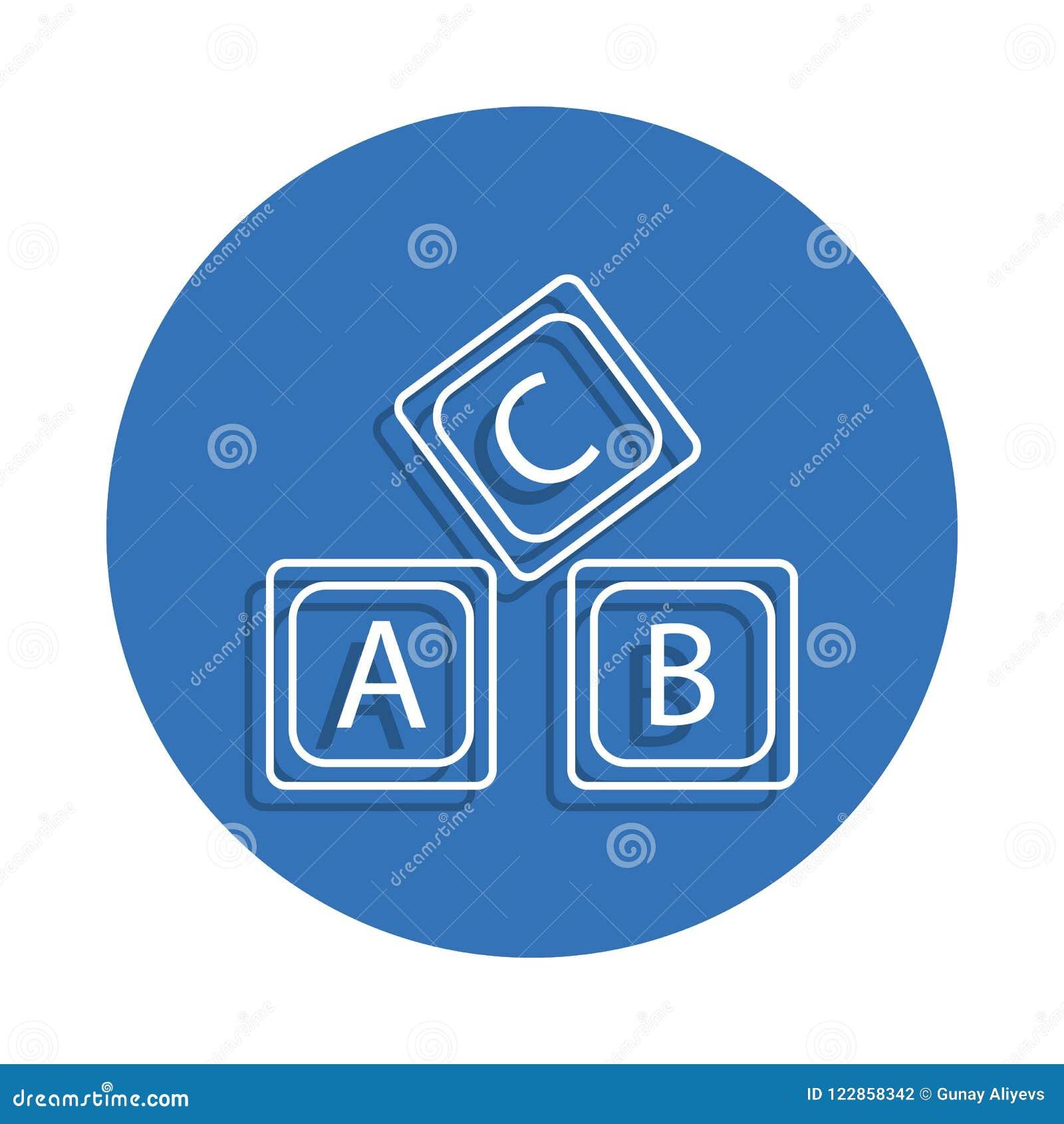 Rotule o ícone do crachá do alfabeto do logotipo de A B C Elemento da educação para o conceito e o ícone móveis dos apps da Web L