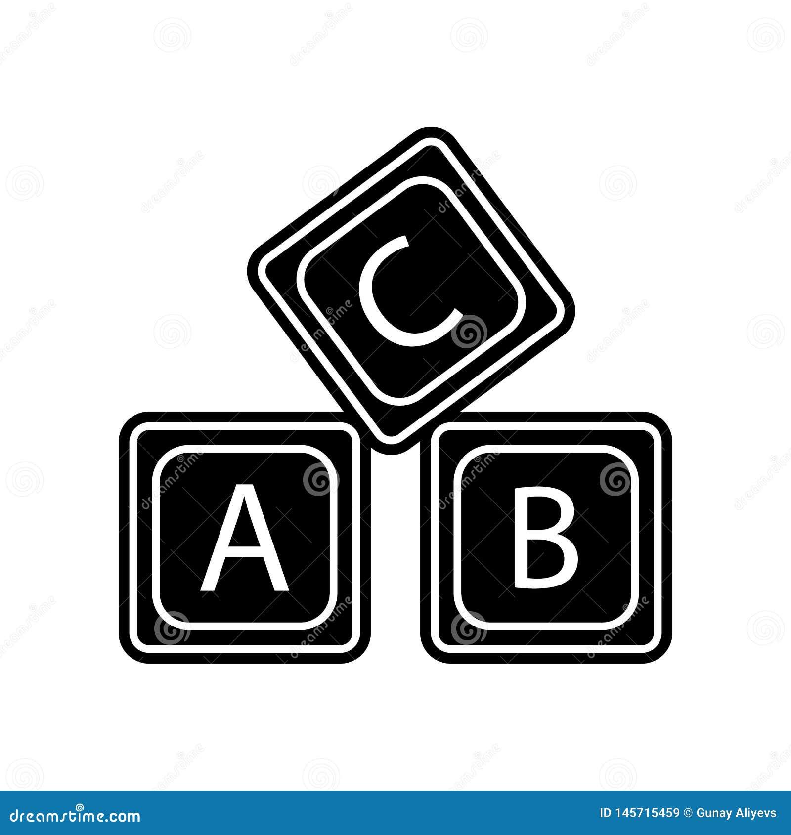 Rotule o ?cone do alfabeto do logotipo de A B C Elemento da educa??o para o conceito e o ?cone m?veis dos apps da Web Glyph, ?con