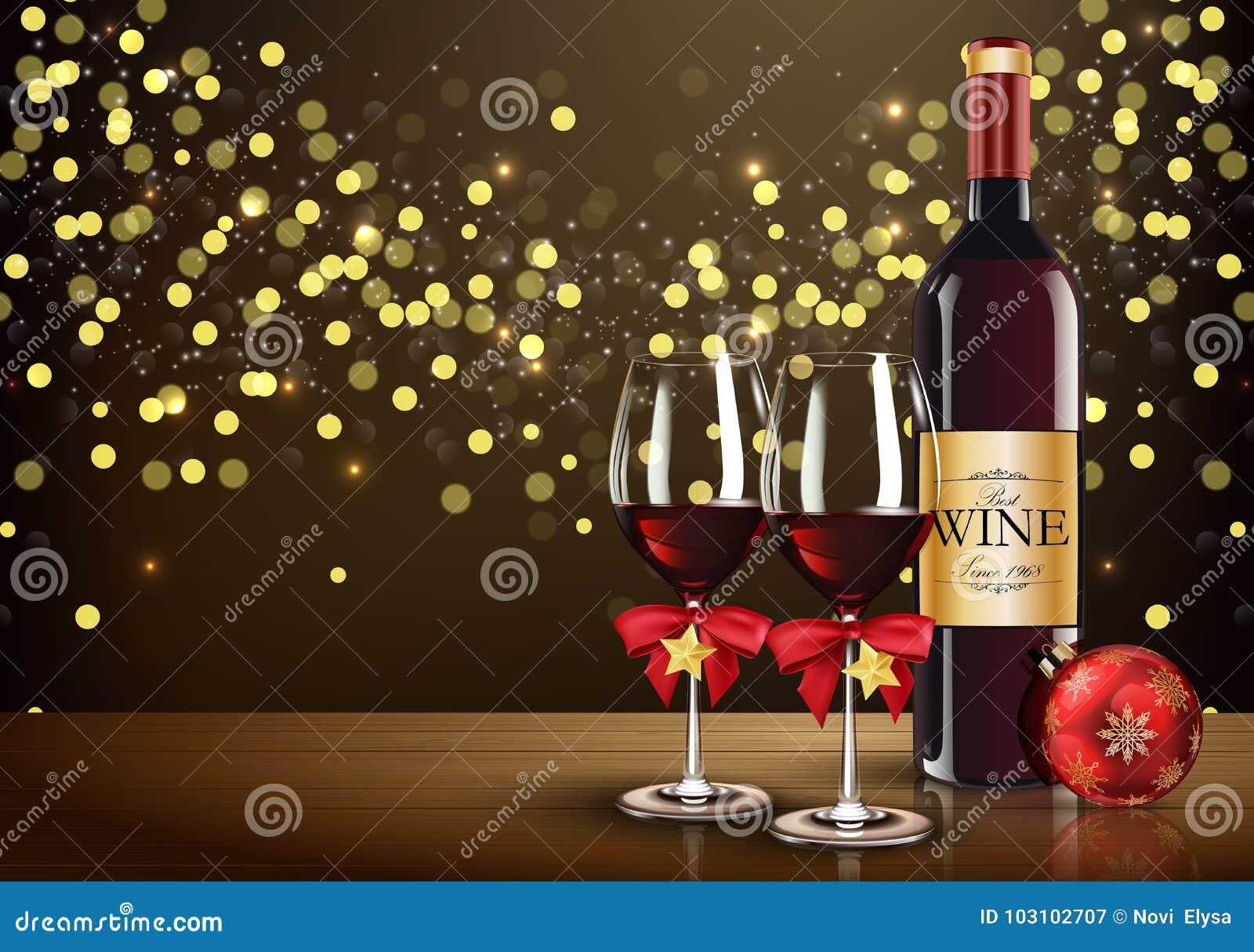 Rotweinglas mit Weinflaschen- und -weihnachtsball auf hellem bokeh Hintergrund