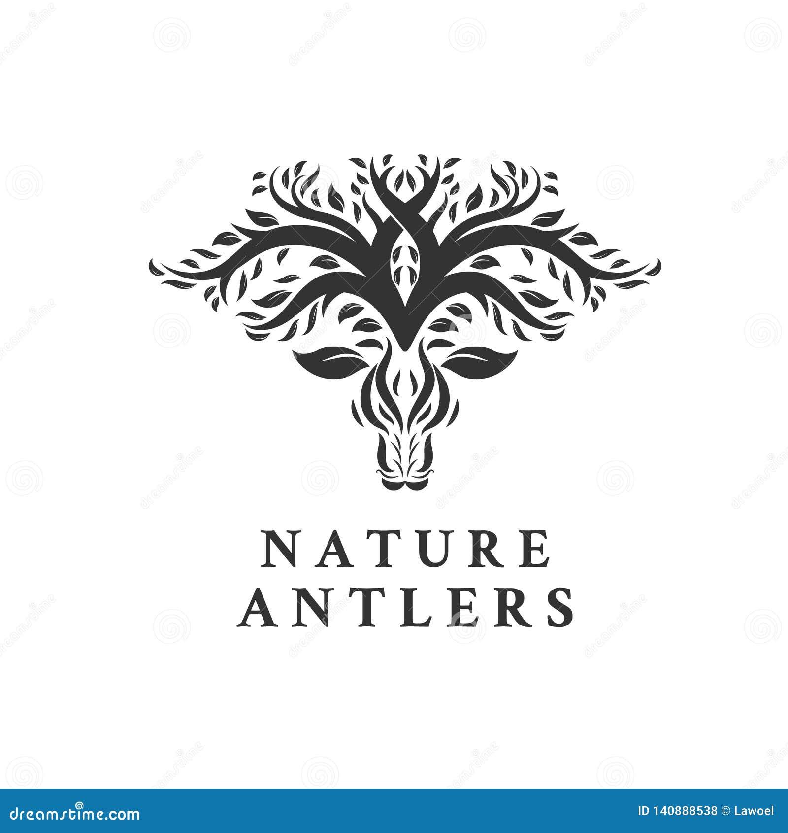 Rotwild-Baum verlässt Forest Logo Vector-Ikone