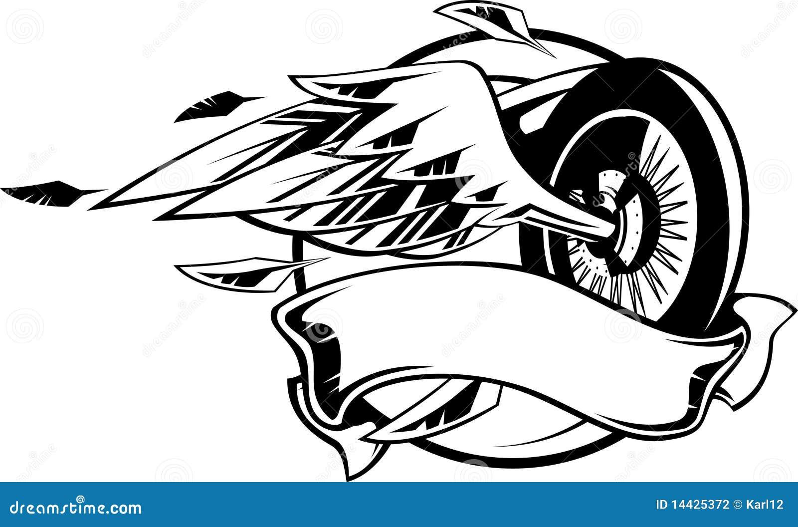 roue avec des ailes illustration de vecteur illustration