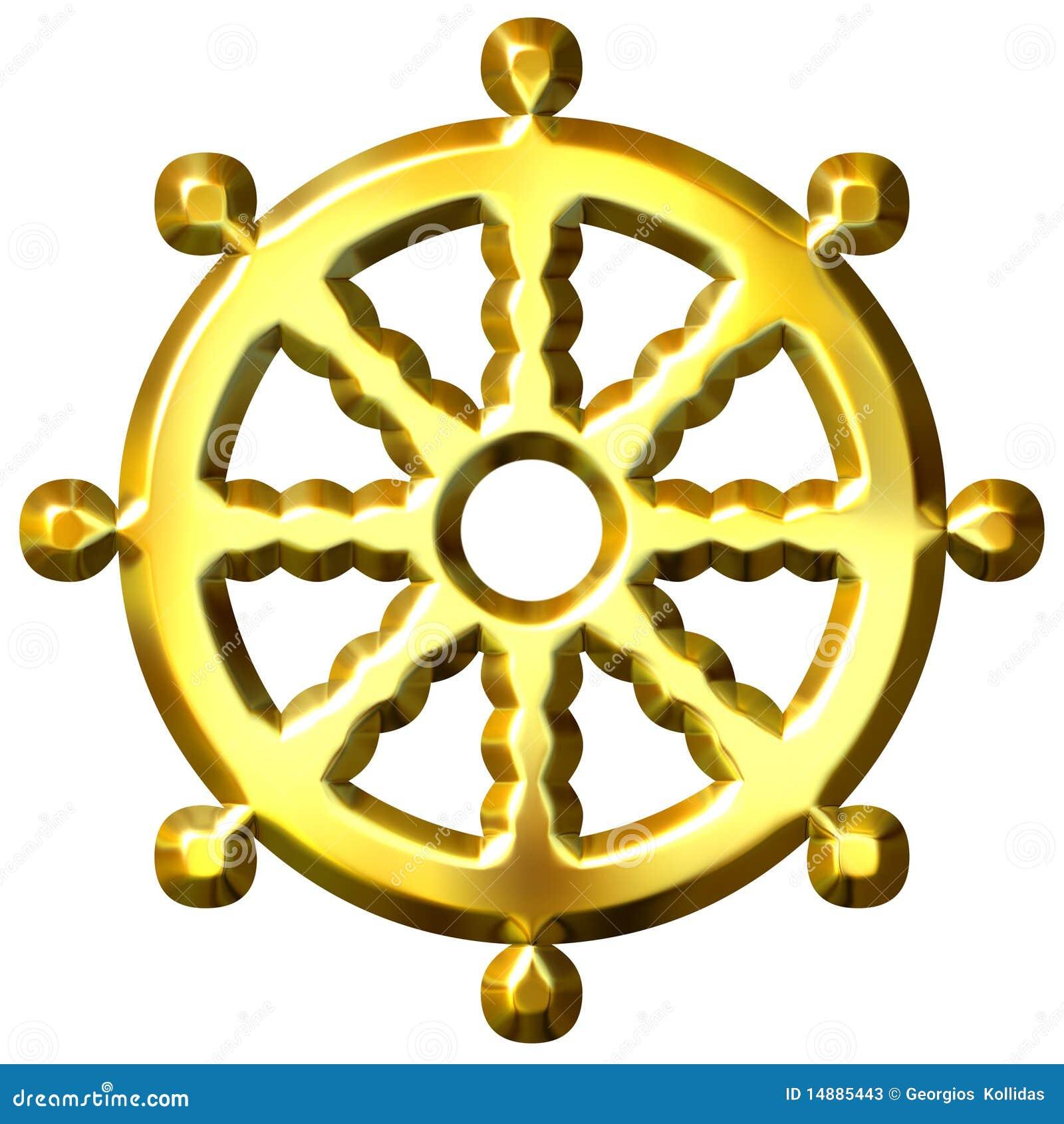 roue d 39 or de symbole du bouddhisme 3d de dharma illustration stock illustration du isolement. Black Bedroom Furniture Sets. Home Design Ideas