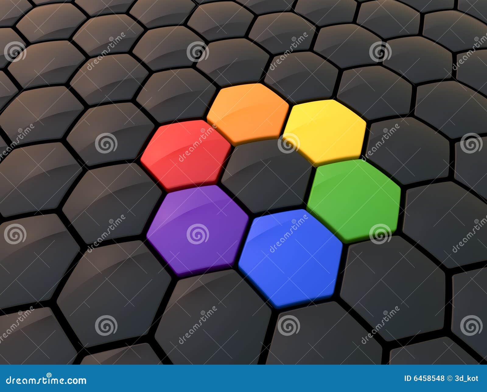 Roue de couleur hexagonale abstraite