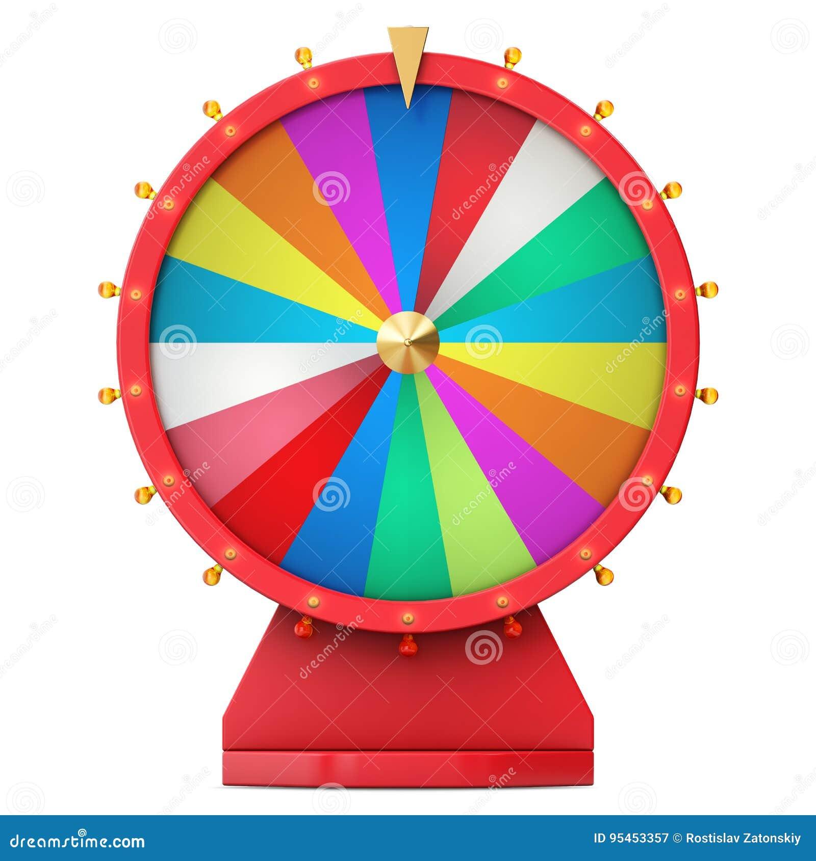 Roue de rotation réaliste de fortune, roulette chanceuse Roue colorée de la chance ou de la fortune Fortune de roue d isolement s