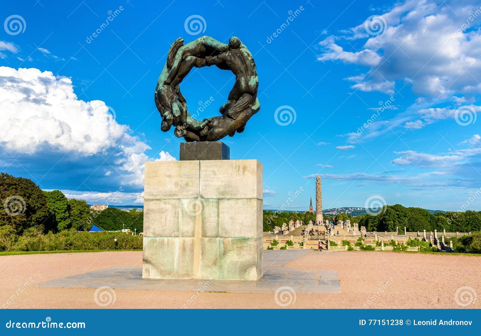 Roue de sculpture en vie en parc de Frogner - Oslo