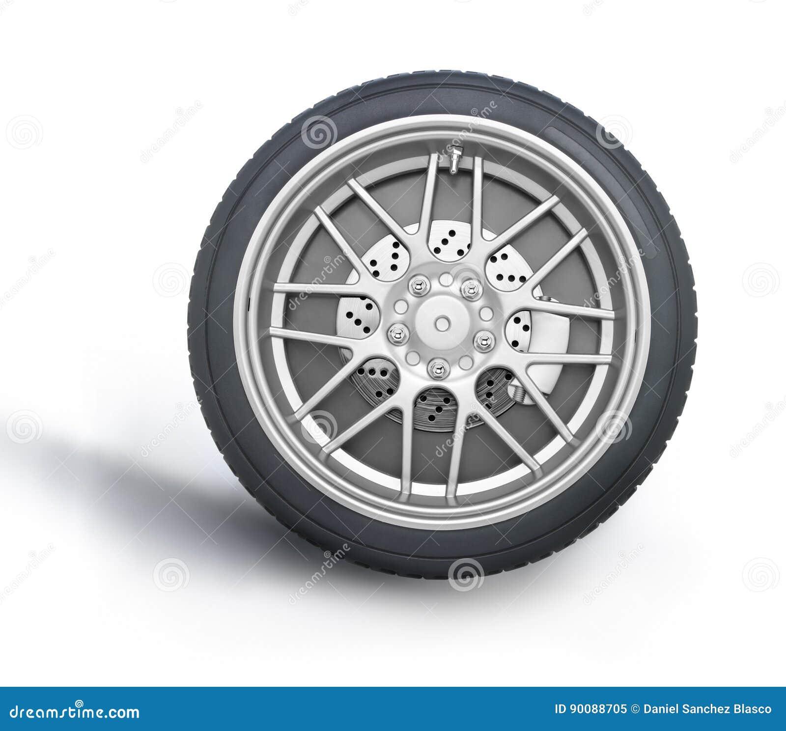 roue de voiture sur le fond blanc image stock image 90088705. Black Bedroom Furniture Sets. Home Design Ideas