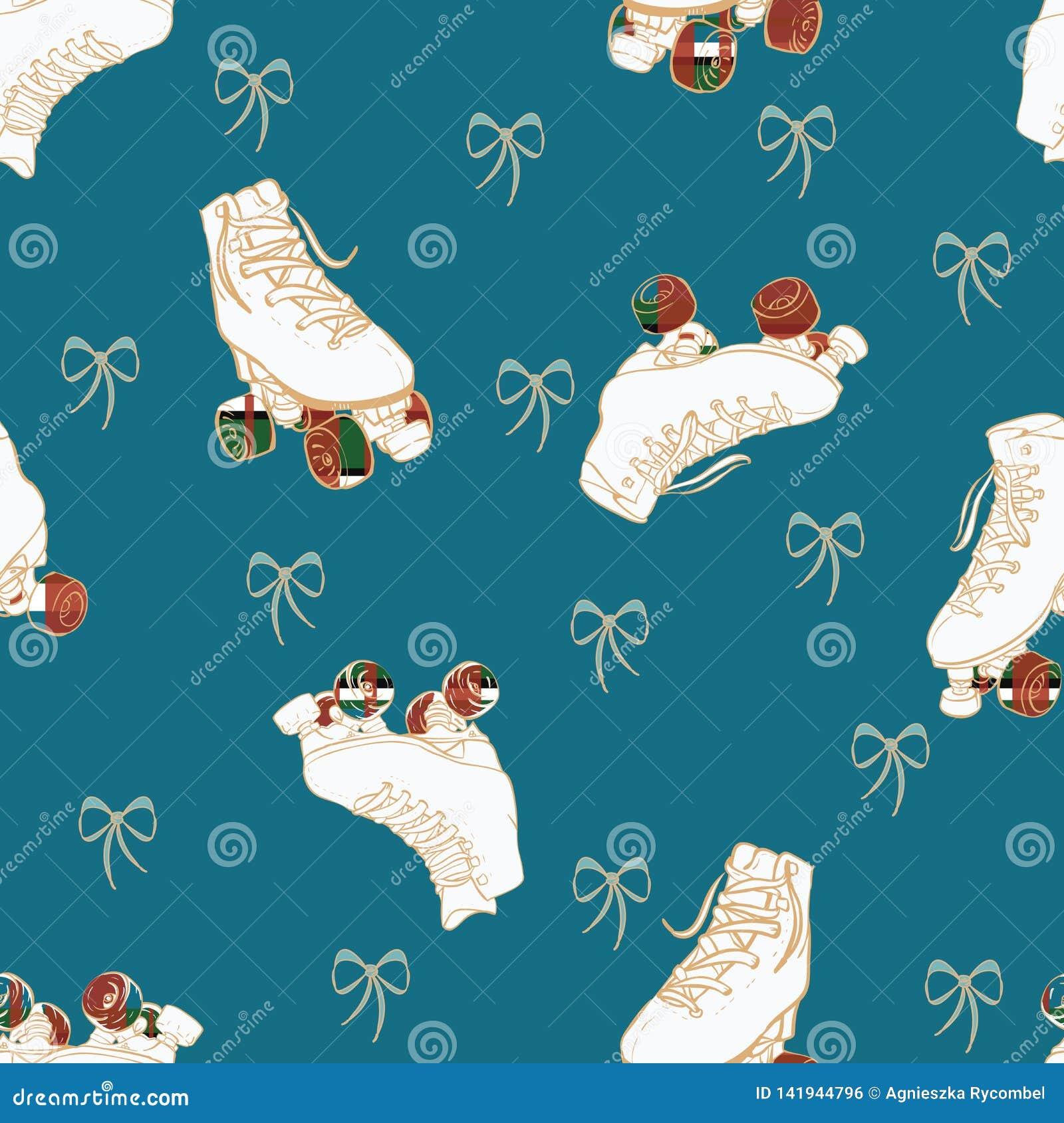 Roues à carreaux de patins de rouleau de Noël de vecteur et fond sans couture de modèle d arcs de dentelle
