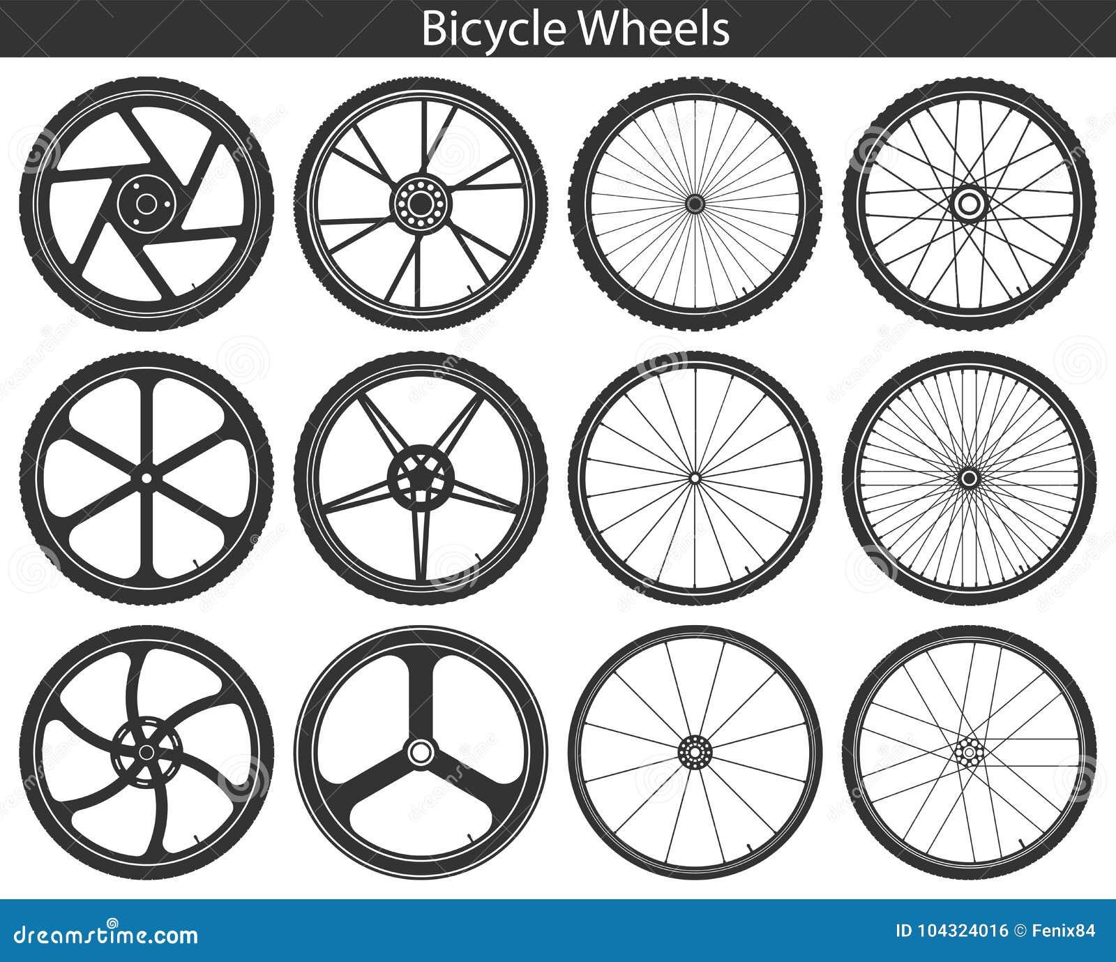 Roues de bicyclette avec différents pneus : montagne, sports, voyageant,